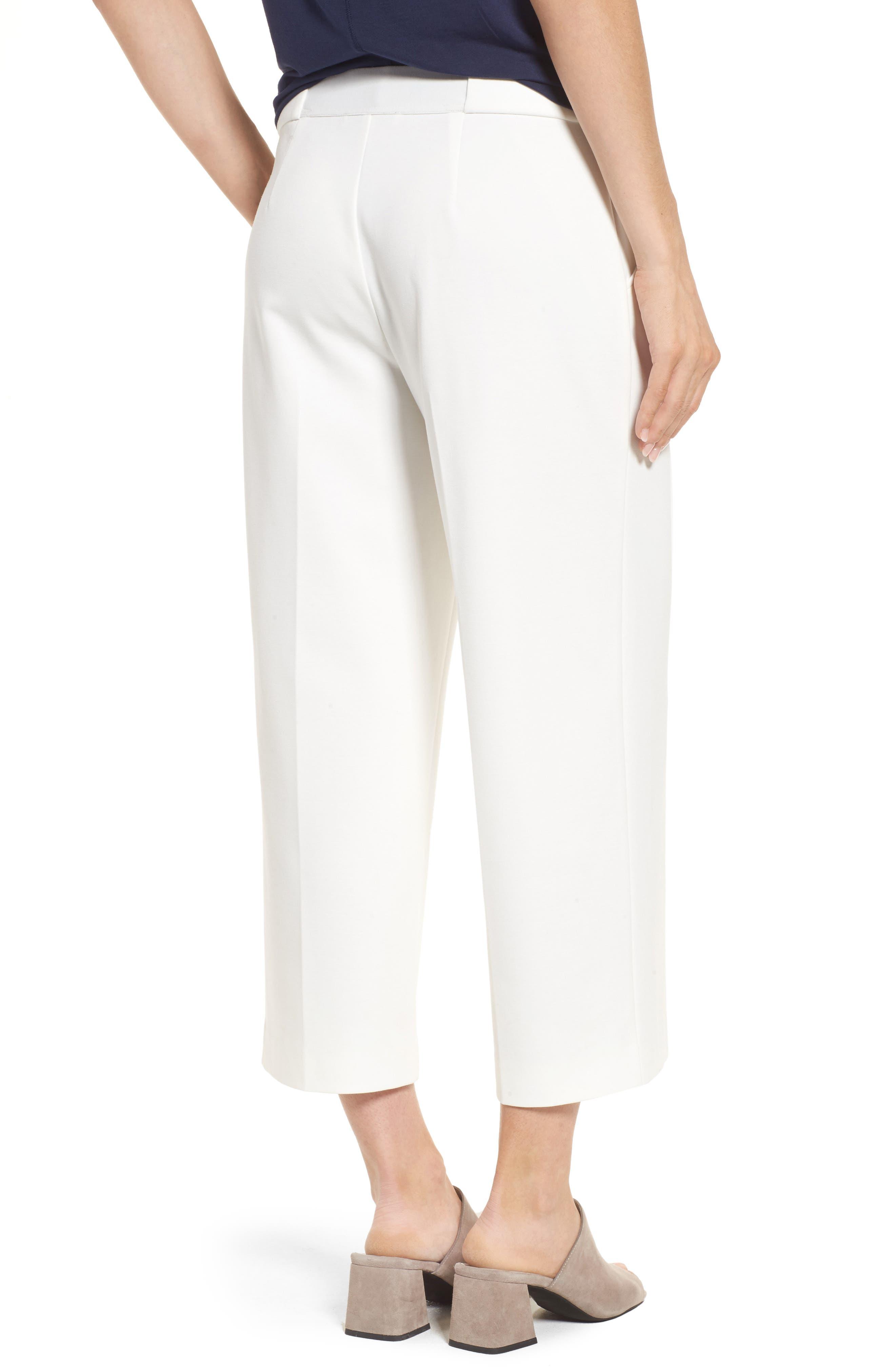 Crop Ponte Knit Sailor Pants,                             Alternate thumbnail 2, color,                             NEW IVORY