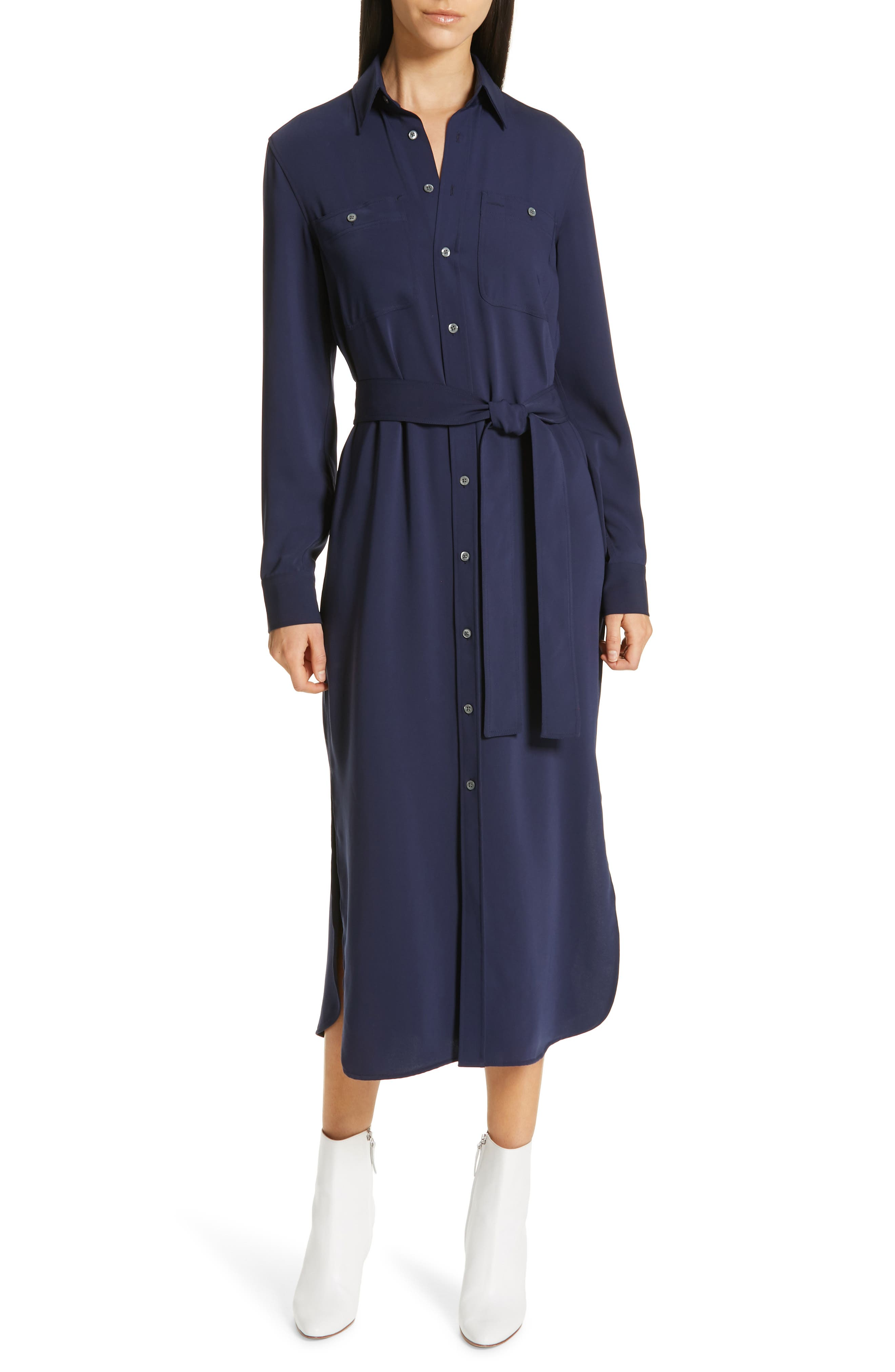 Belted Midi Shirtdress, Main, color, CRUISE NAVY