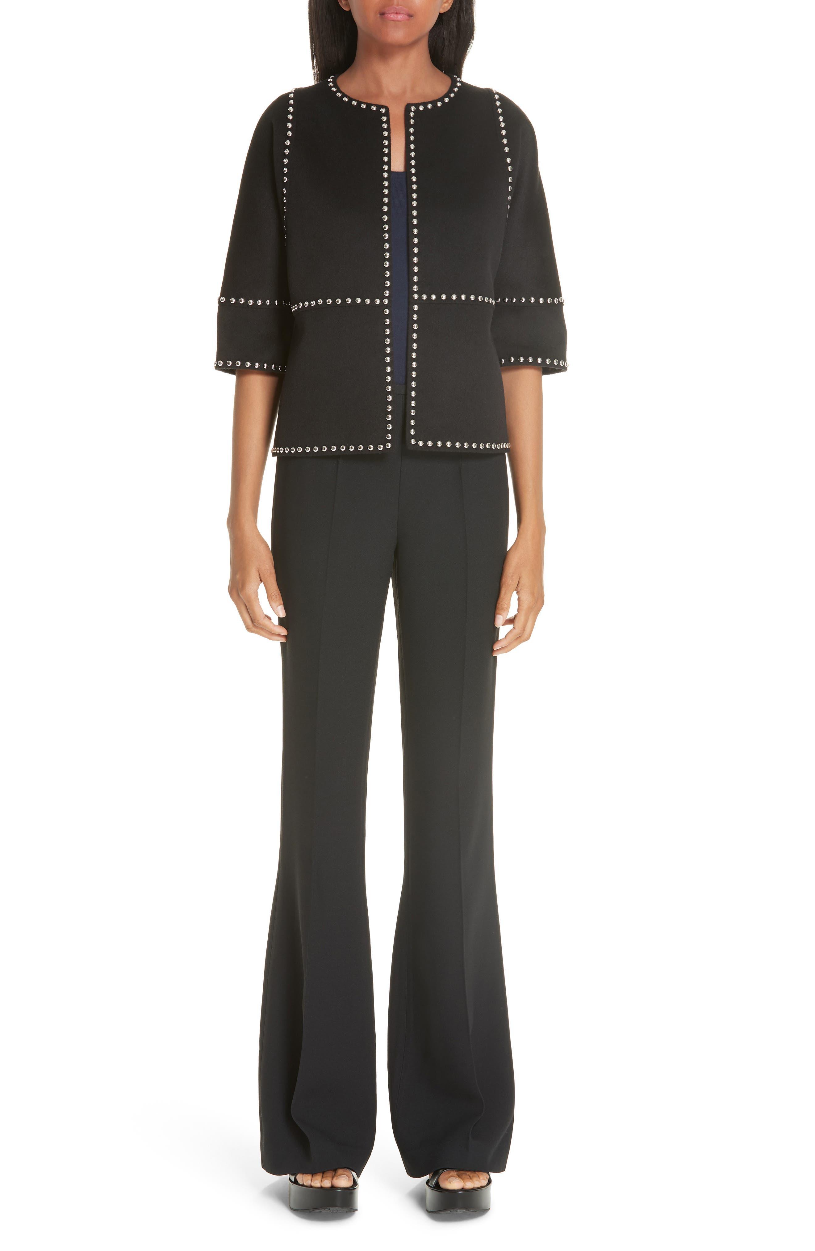 Cookie Studded Wool & Cashgora Jacket,                             Alternate thumbnail 7, color,                             BLACK