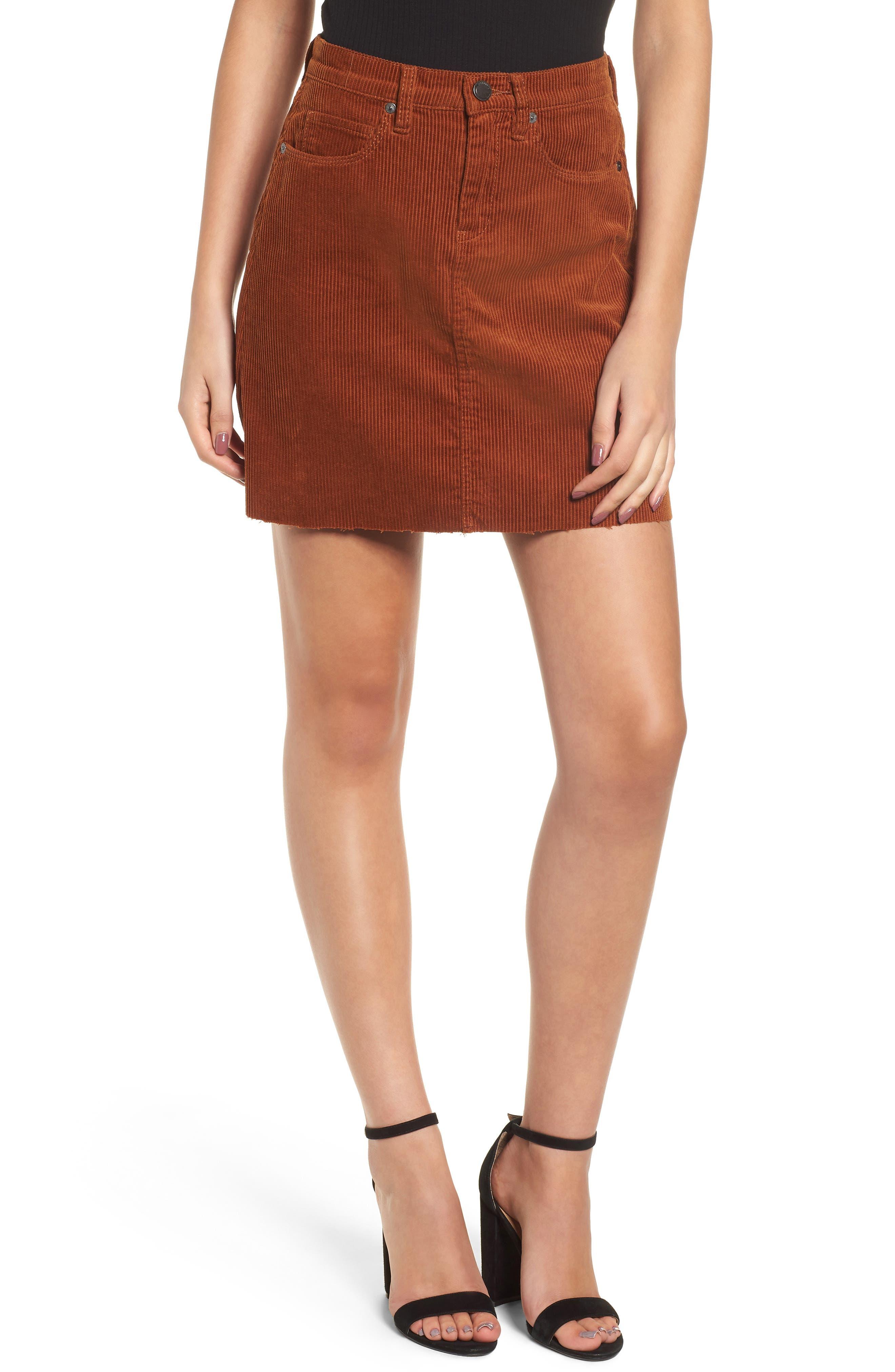 Blanknyc Corduroy A-Line Miniskirt, Metallic