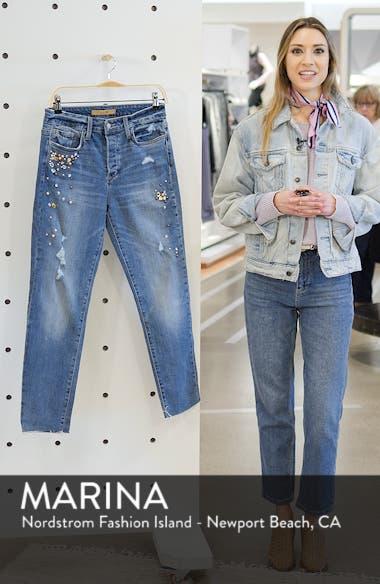 Smith Embellished High Waist Raw Hem Ankle Boyfriend Jeans, sales video thumbnail