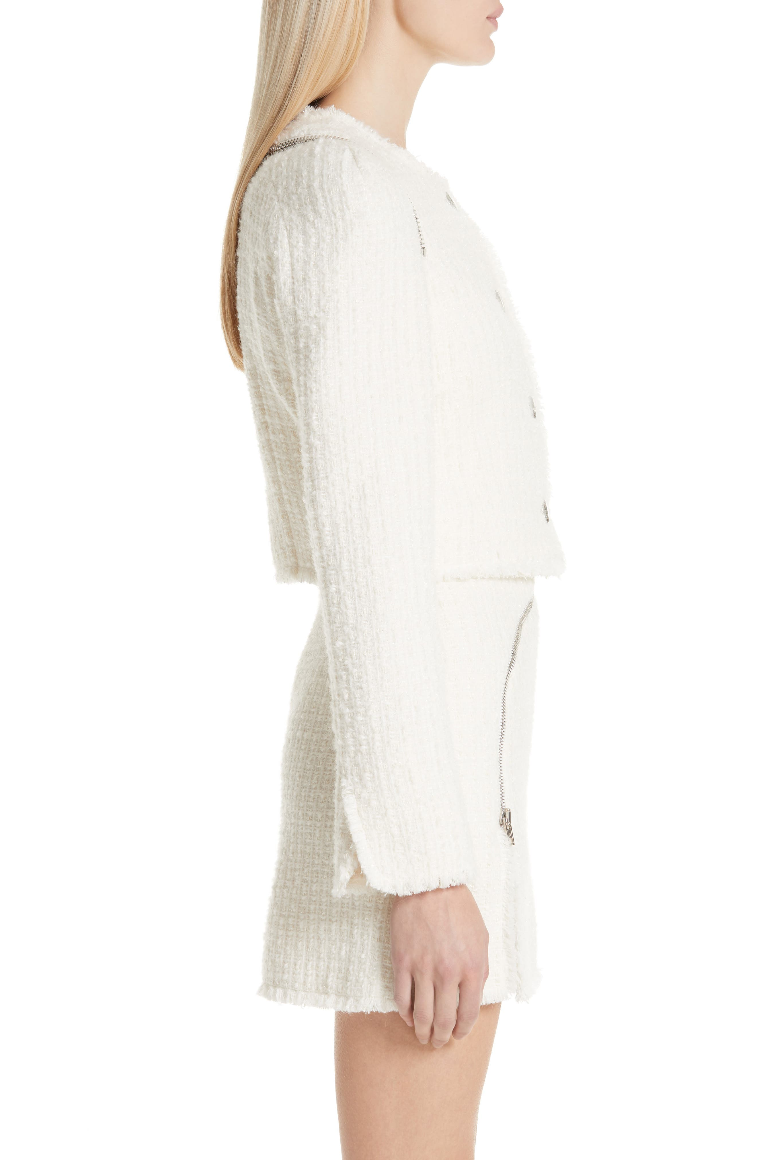 ALEXANDER WANG,                             Zip Detail Tweed Jacket,                             Alternate thumbnail 4, color,                             IVORY