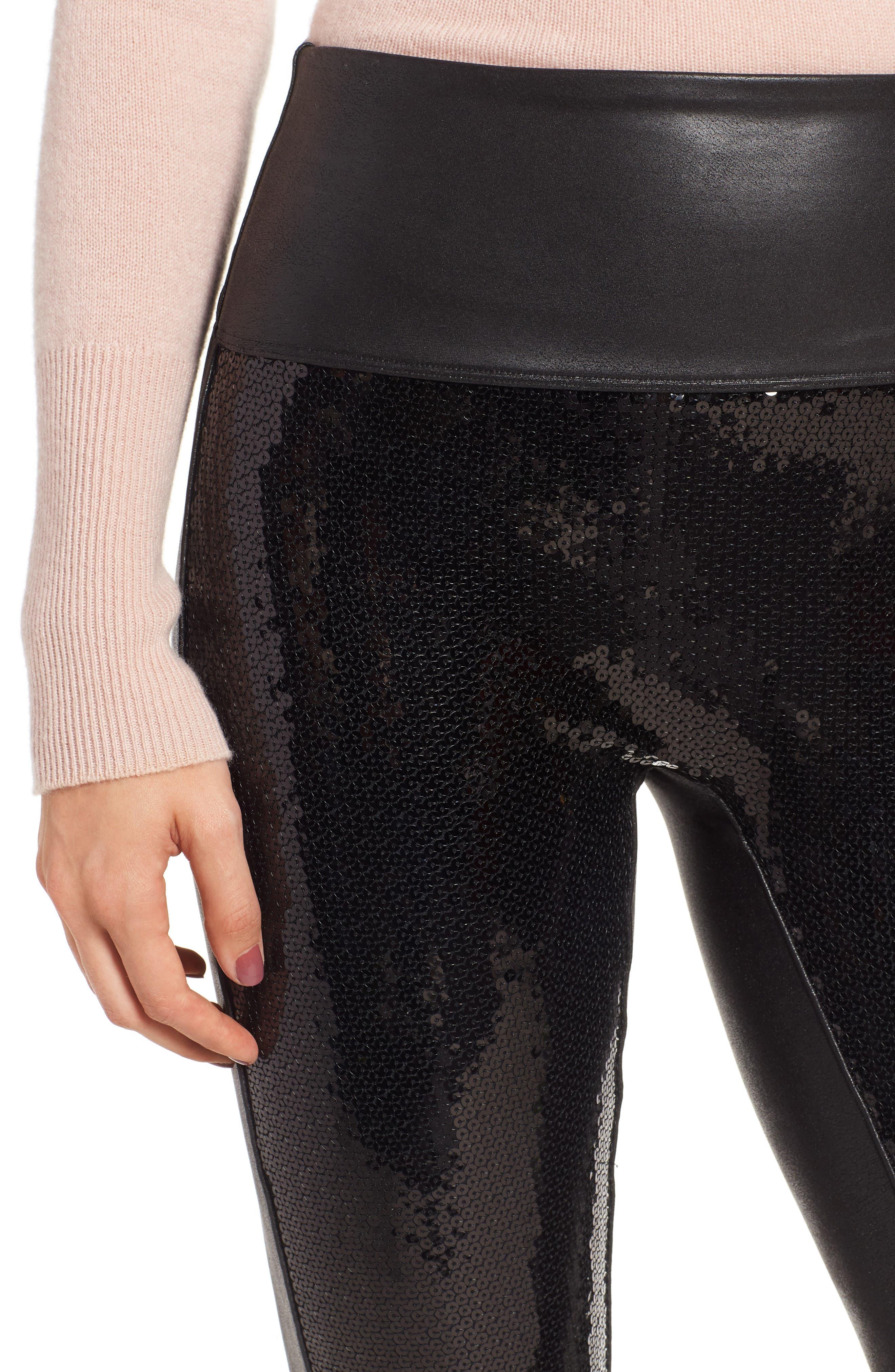 Sequin Faux Leather Leggings,                             Alternate thumbnail 4, color,                             BLACK SEQUIN