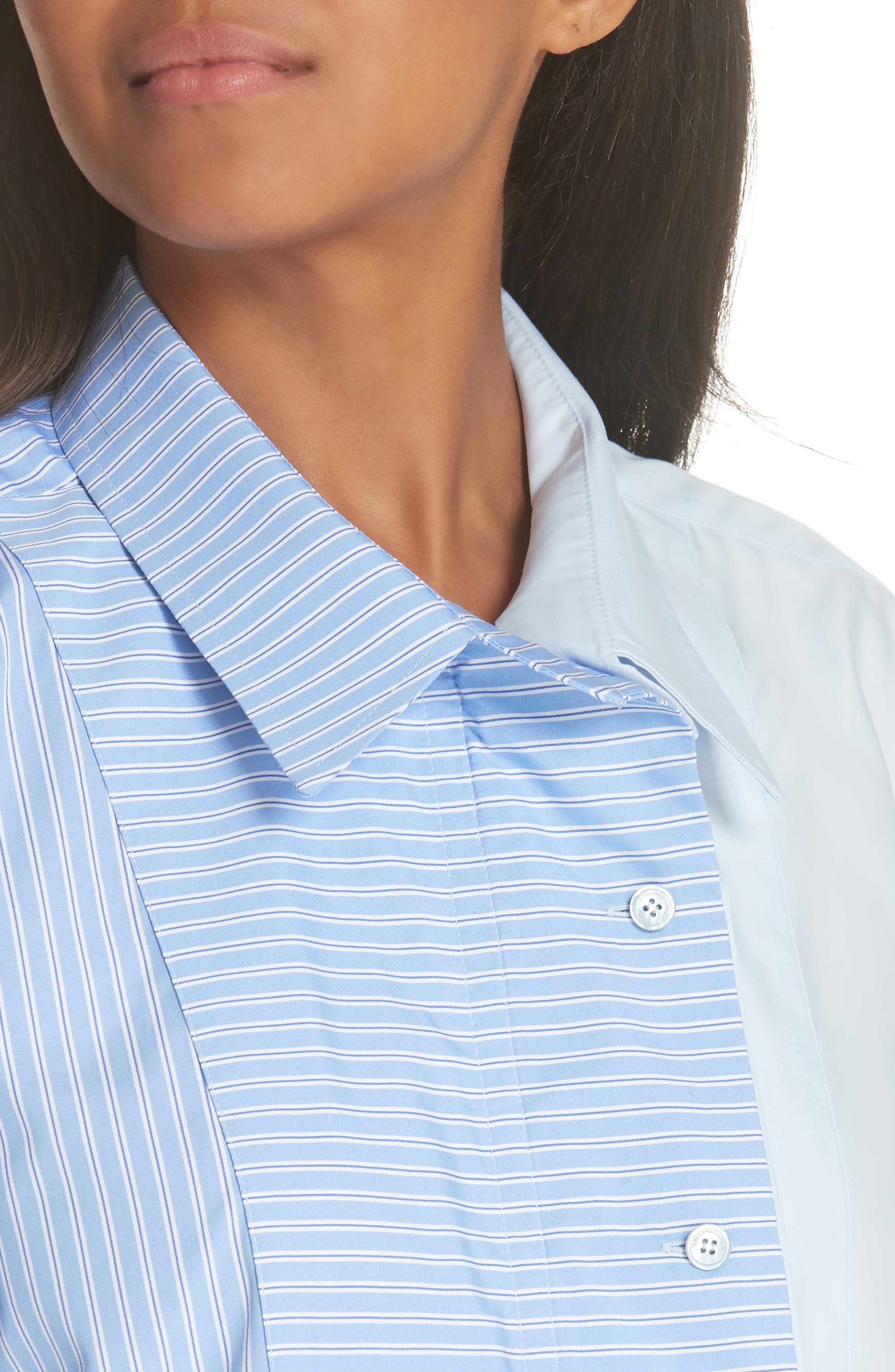 Two-Tone Zip Front Poplin Shirt,                             Alternate thumbnail 4, color,                             SKY BLUE