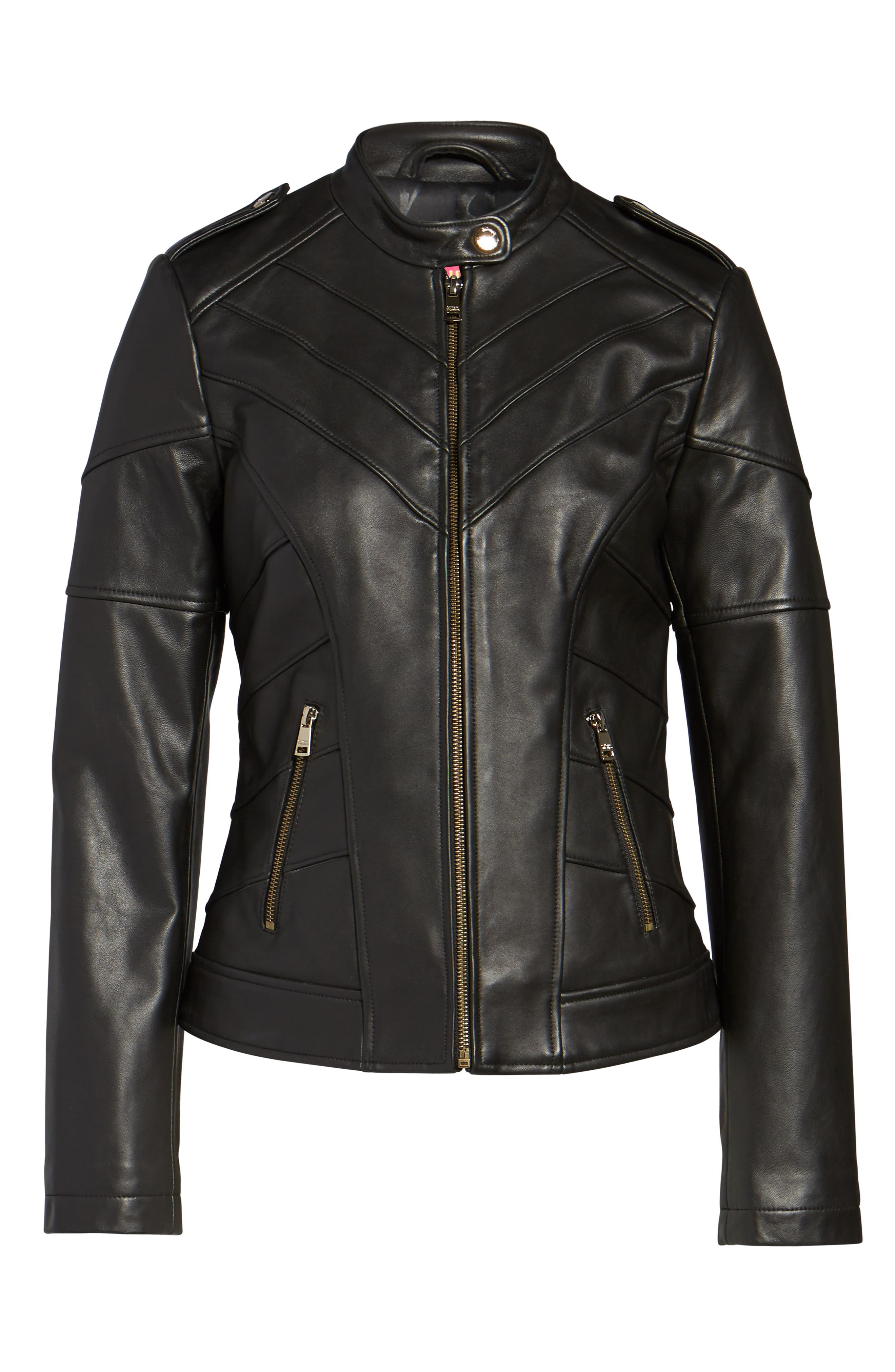 Chevron Seam Leather Jacket,                             Alternate thumbnail 5, color,                             001