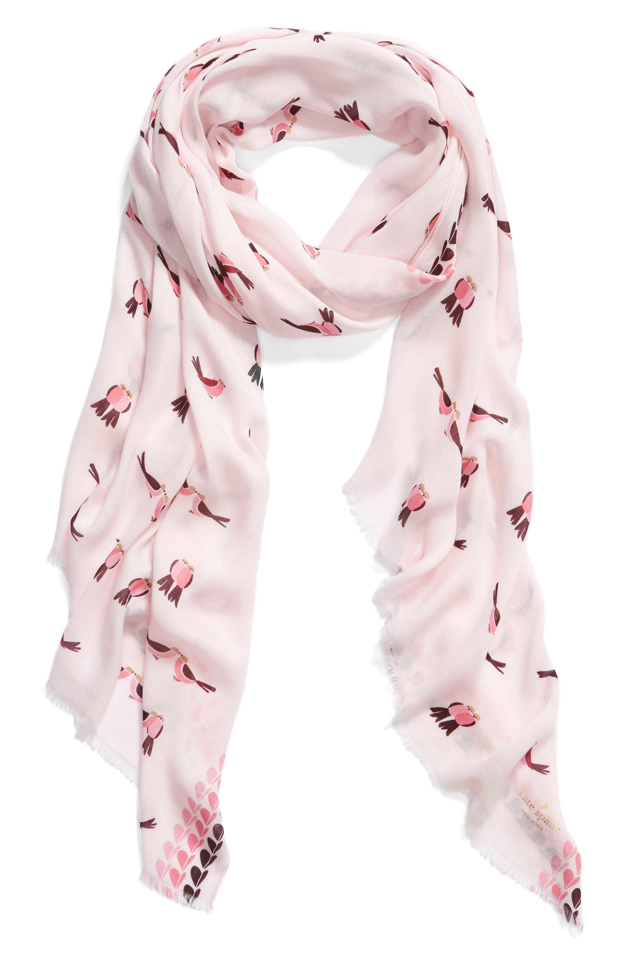KATE SPADE NEW YORK,                             lovebirds scarf,                             Alternate thumbnail 2, color,                             PINK MAJOLICA