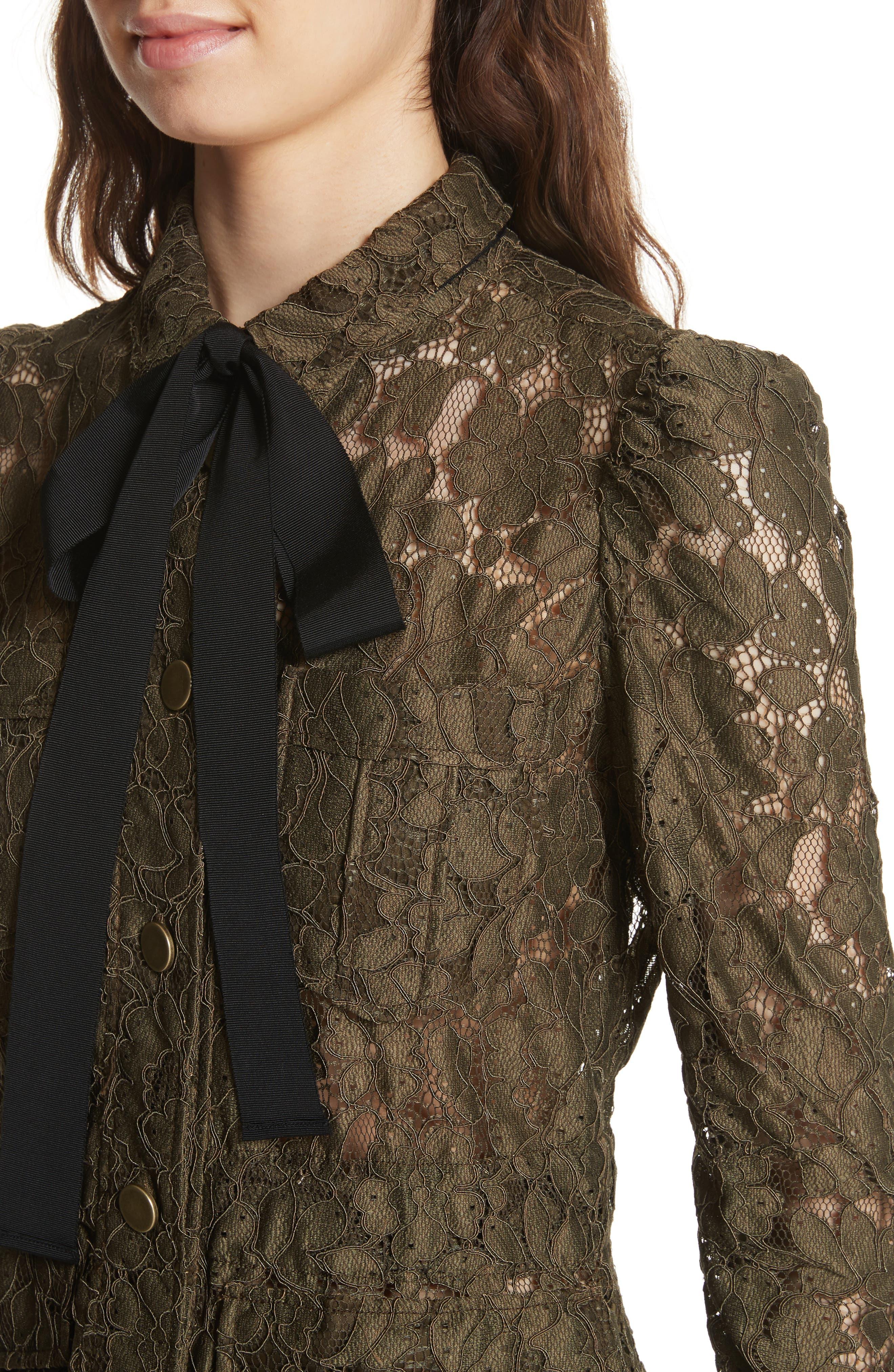 Daniela Tie Neck Lace Army Jacket,                             Alternate thumbnail 4, color,                             310