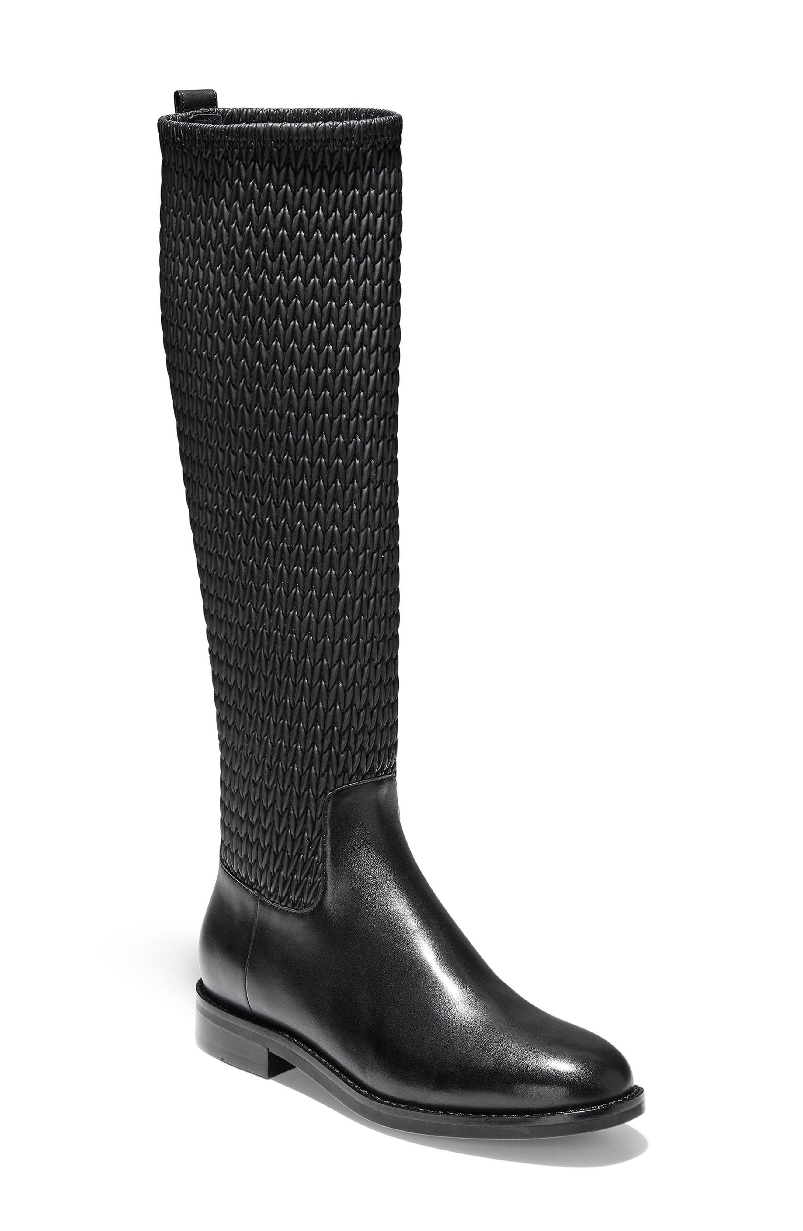 COLE HAAN Lexi Grand Stretch Leather Riding Boots in Black Leather