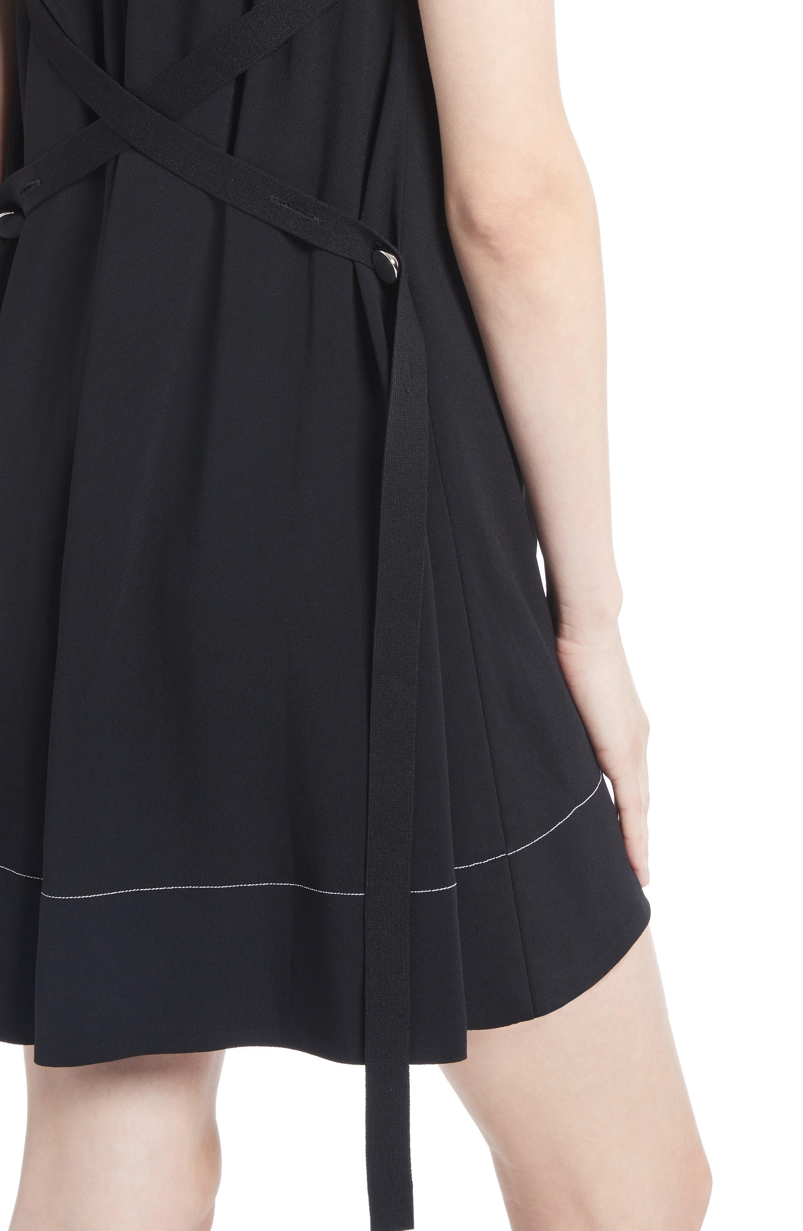 Flared Satin Back Crepe Dress,                             Alternate thumbnail 4, color,                             001