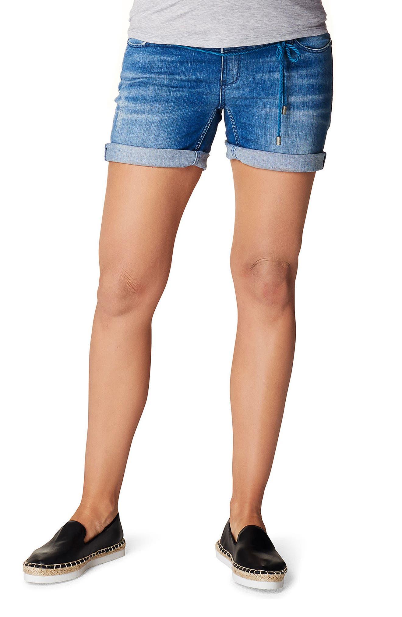 Zita Maternity Jean Shorts,                             Main thumbnail 1, color,                             MID BLUE