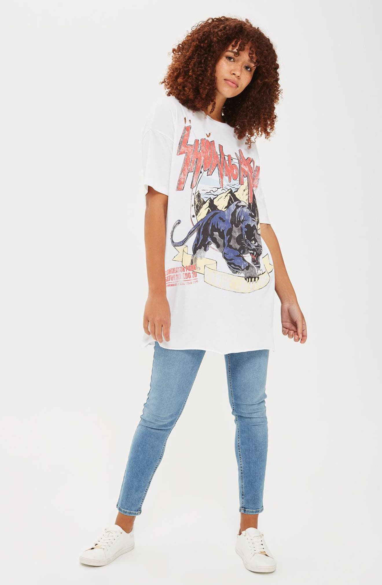 Oversize Destroyed Rocker Tee,                             Alternate thumbnail 2, color,                             100