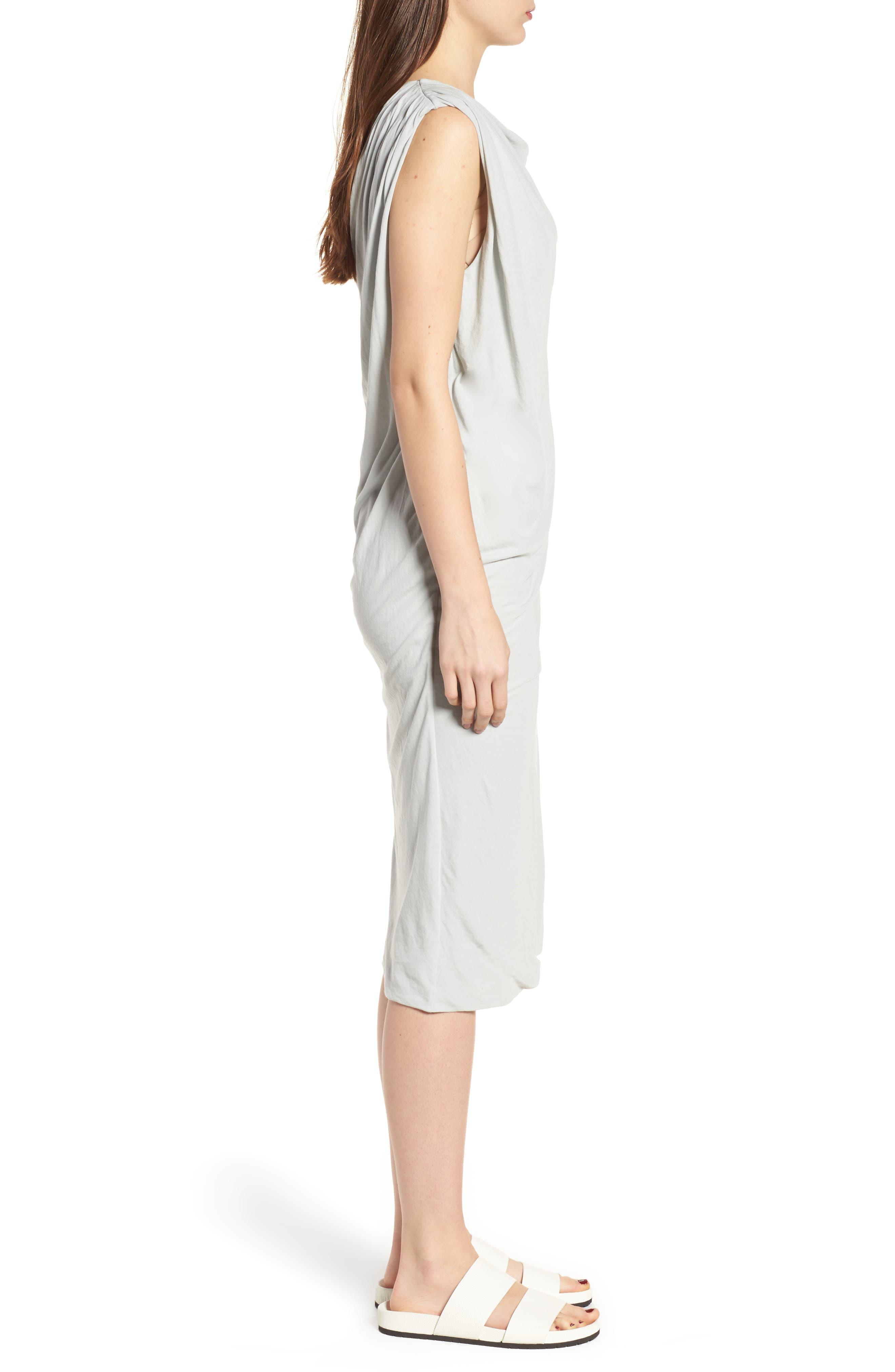 Draped One-Shoulder Midi Dress,                             Alternate thumbnail 8, color,