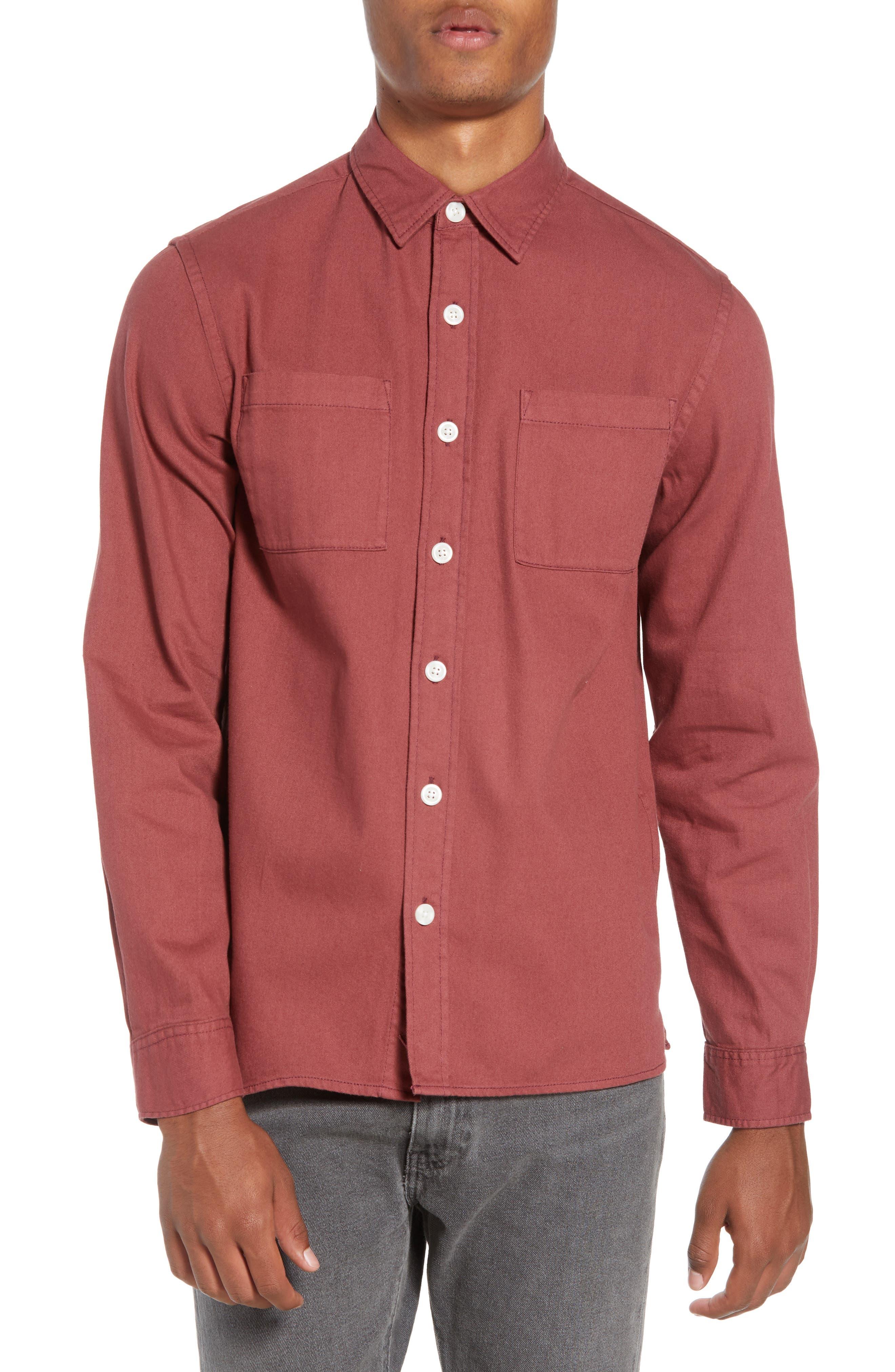Nolan Washed Denim Sport Shirt,                         Main,                         color, LIGHT PLUM