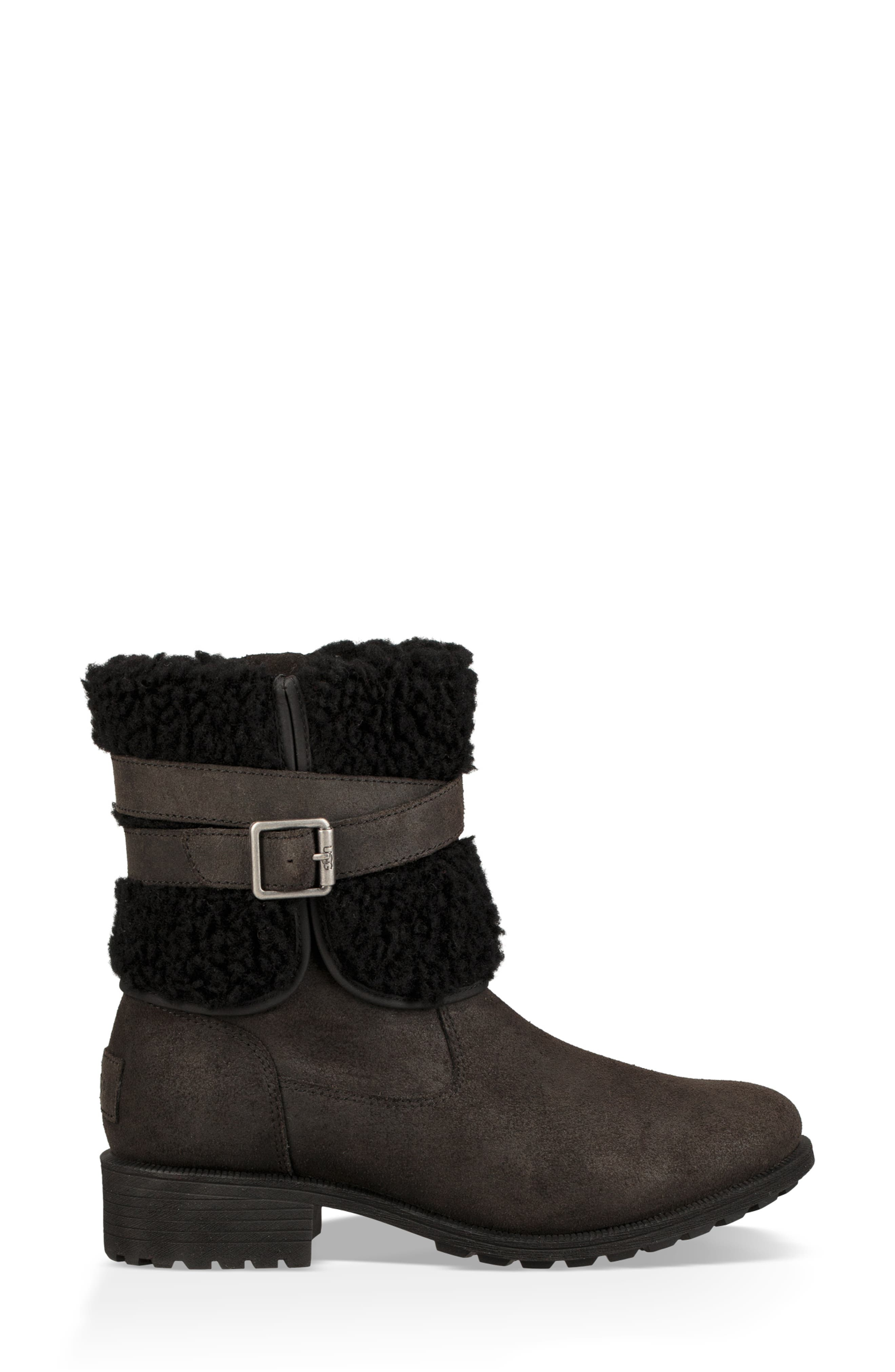 Blayre III Faux Shearling Cuff Bootie,                             Alternate thumbnail 3, color,                             BLACK