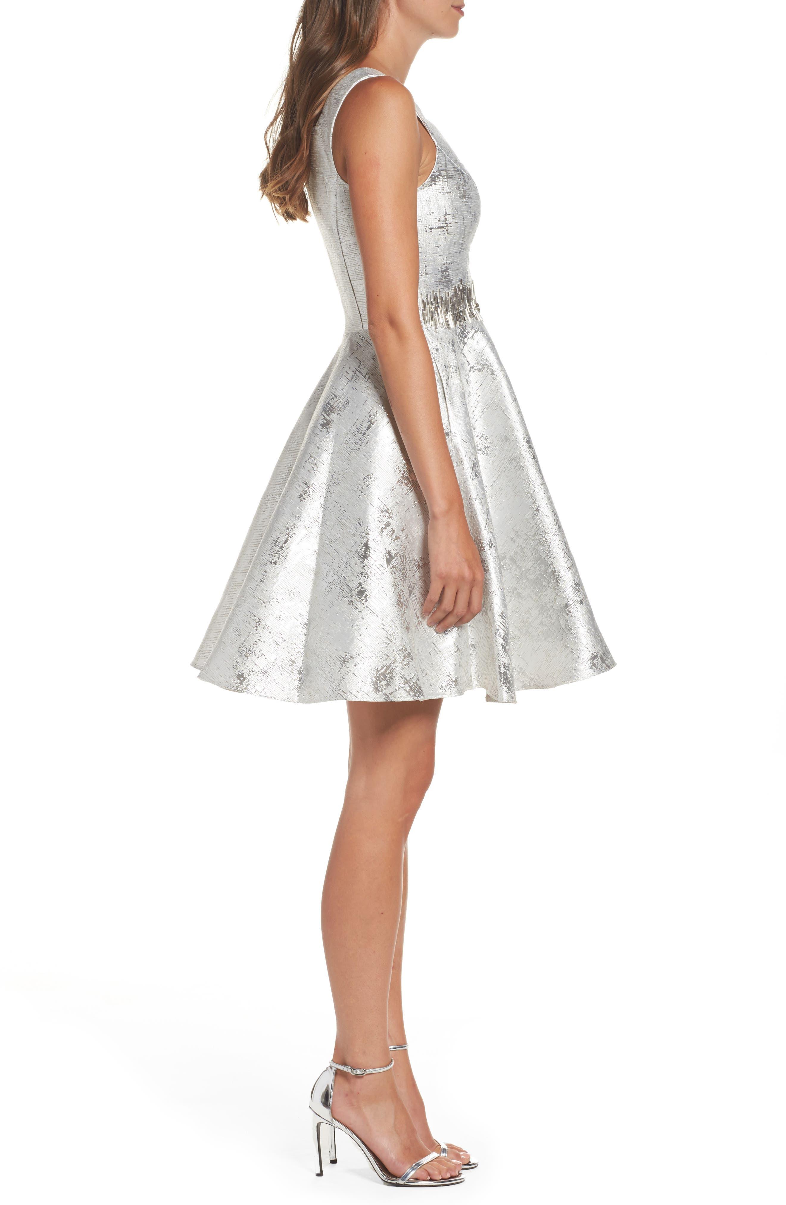 Embellished Metallic Fit & Flare Dress,                             Alternate thumbnail 3, color,                             044