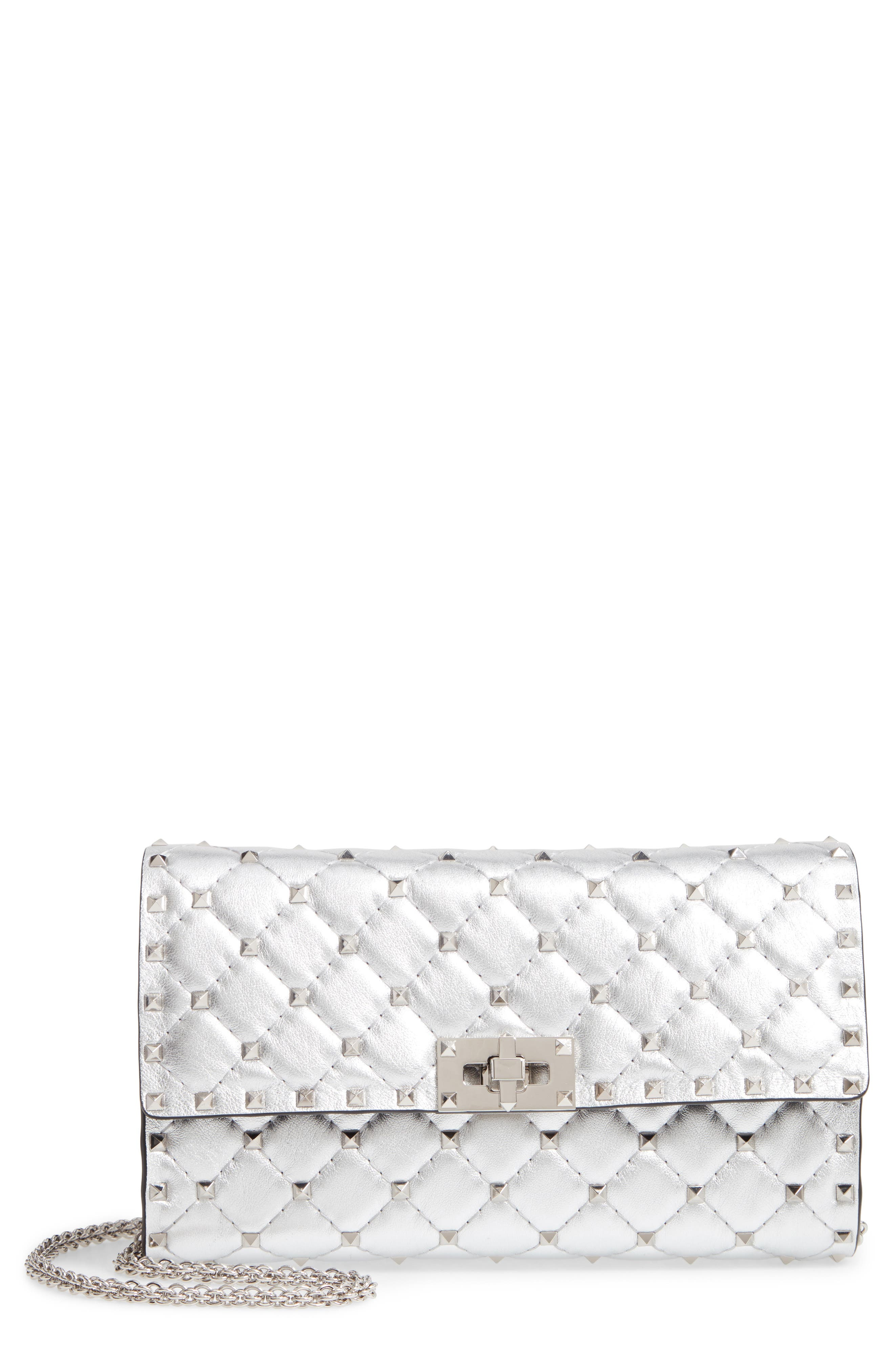 Rockstud Metallic Leather Clutch,                             Main thumbnail 1, color,                             SILVER