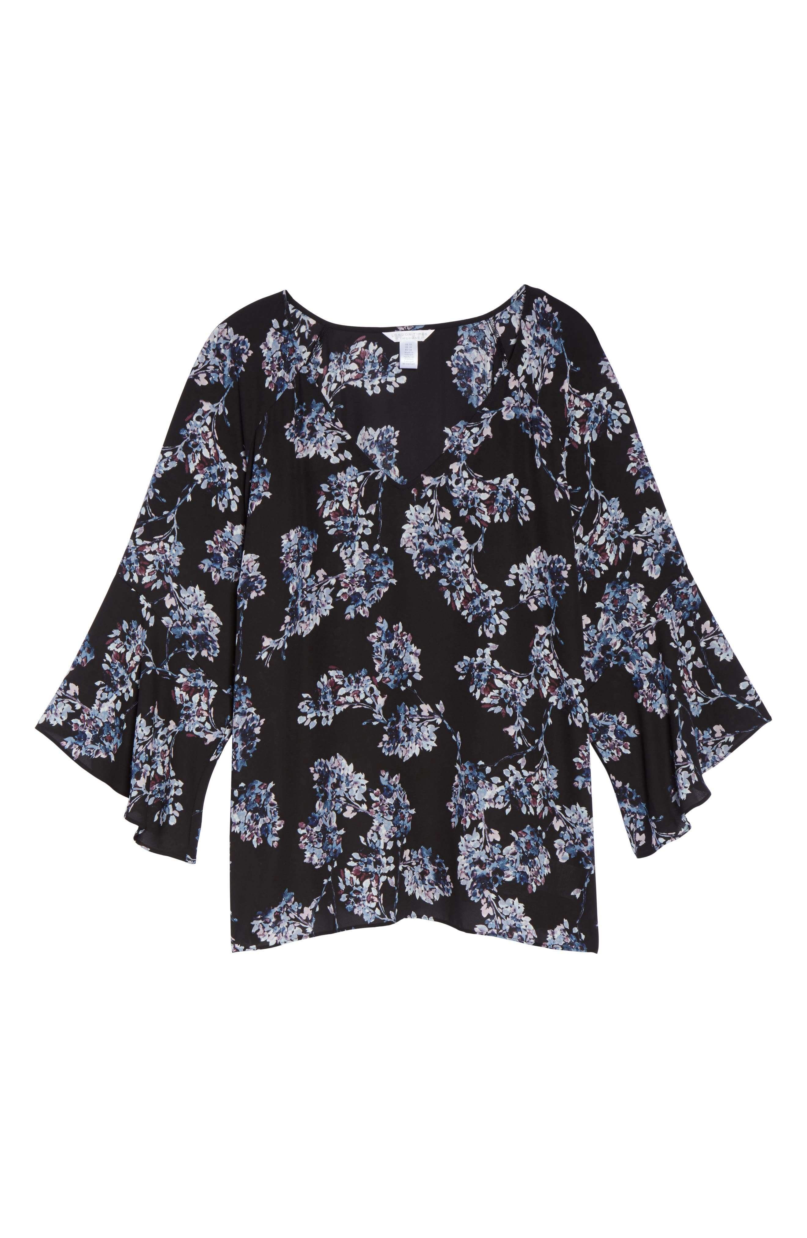 Floral Print Bell Sleeve Top,                             Alternate thumbnail 6, color,