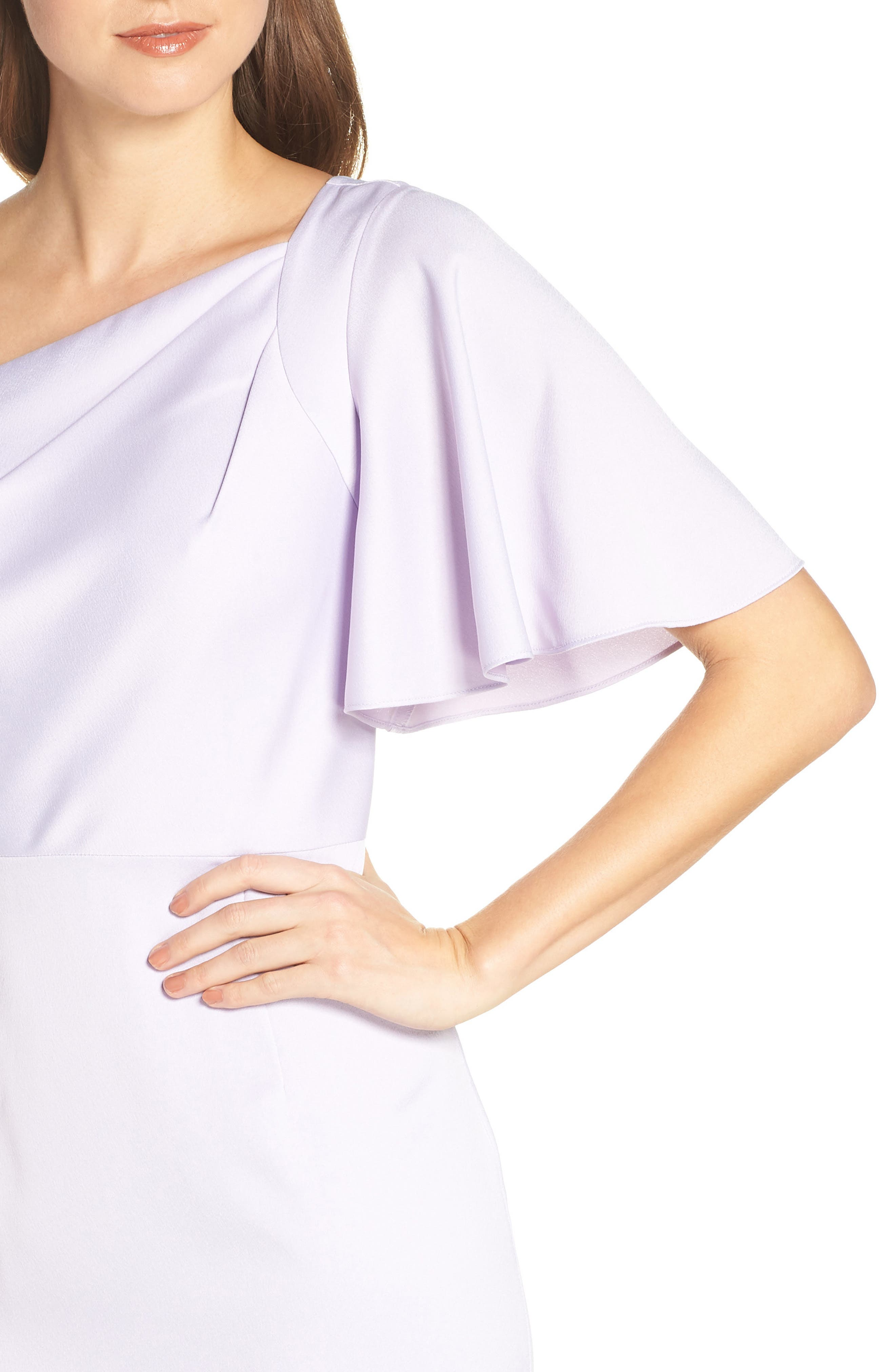 Asymmetrical Neckline Evening Dress,                             Alternate thumbnail 4, color,                             LILAC