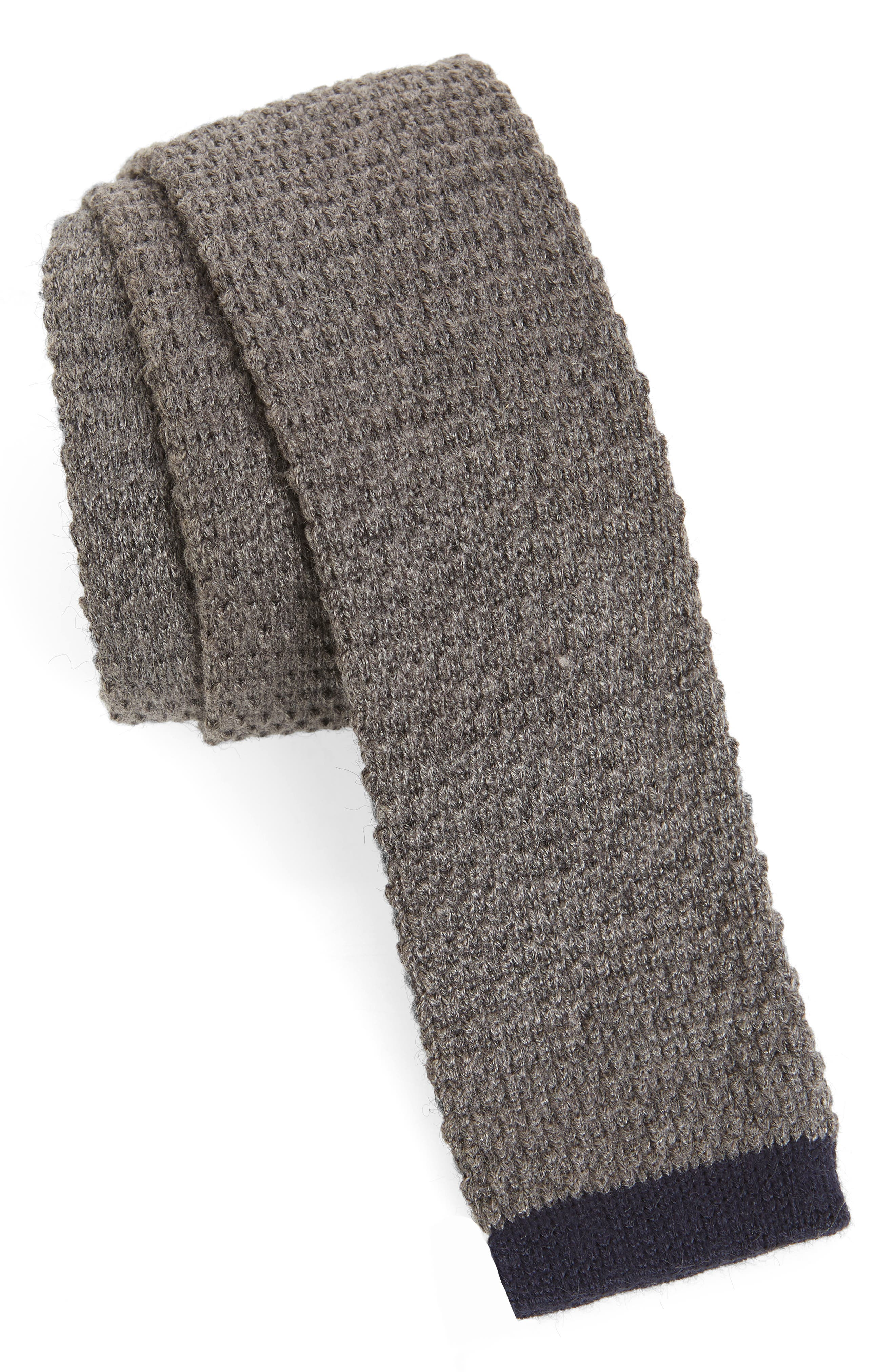 Belvin Knit Skinny Tie,                             Main thumbnail 1, color,                             CHARCOAL