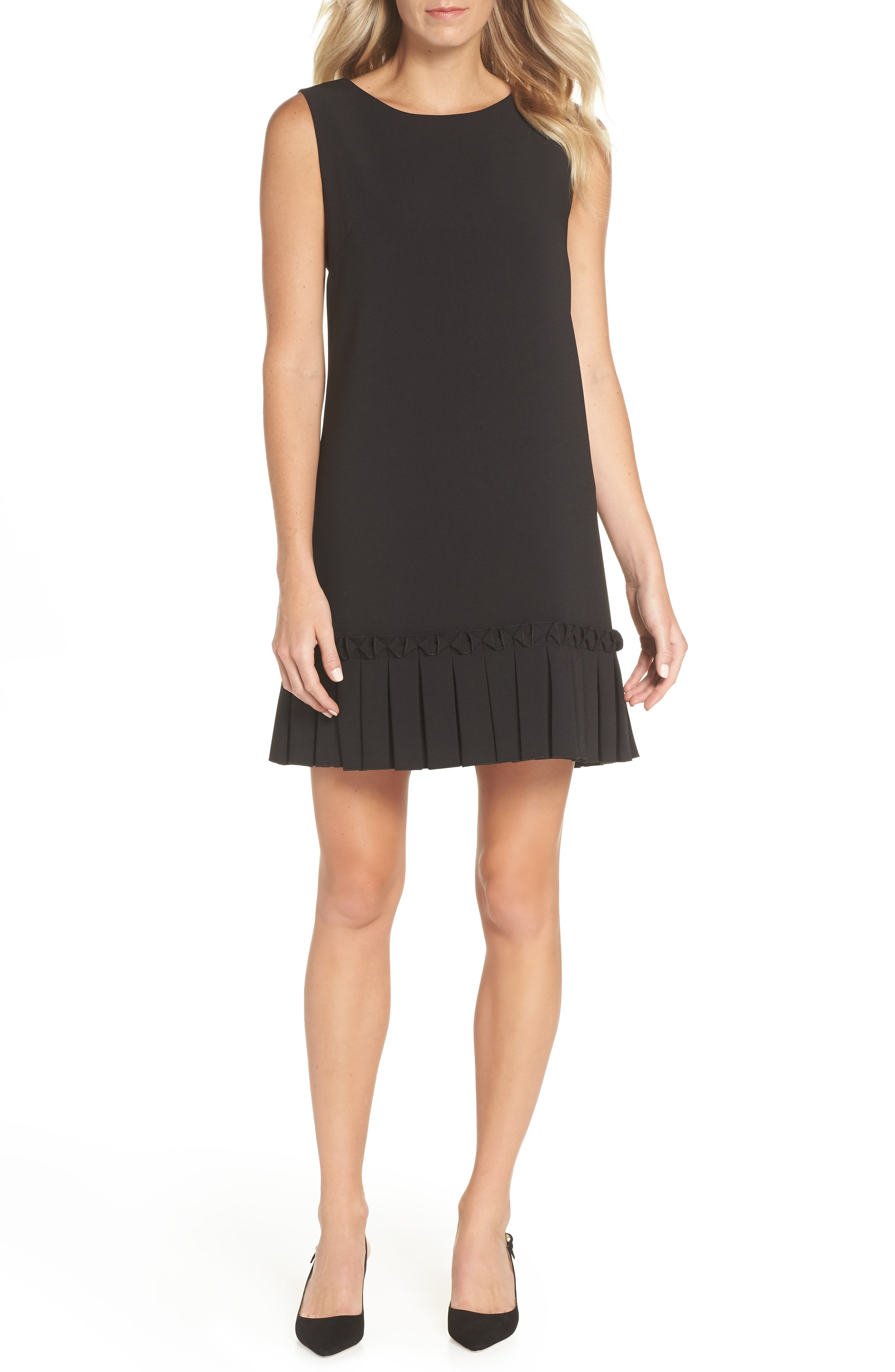 Pleated Shift Dress,                             Main thumbnail 1, color,                             001