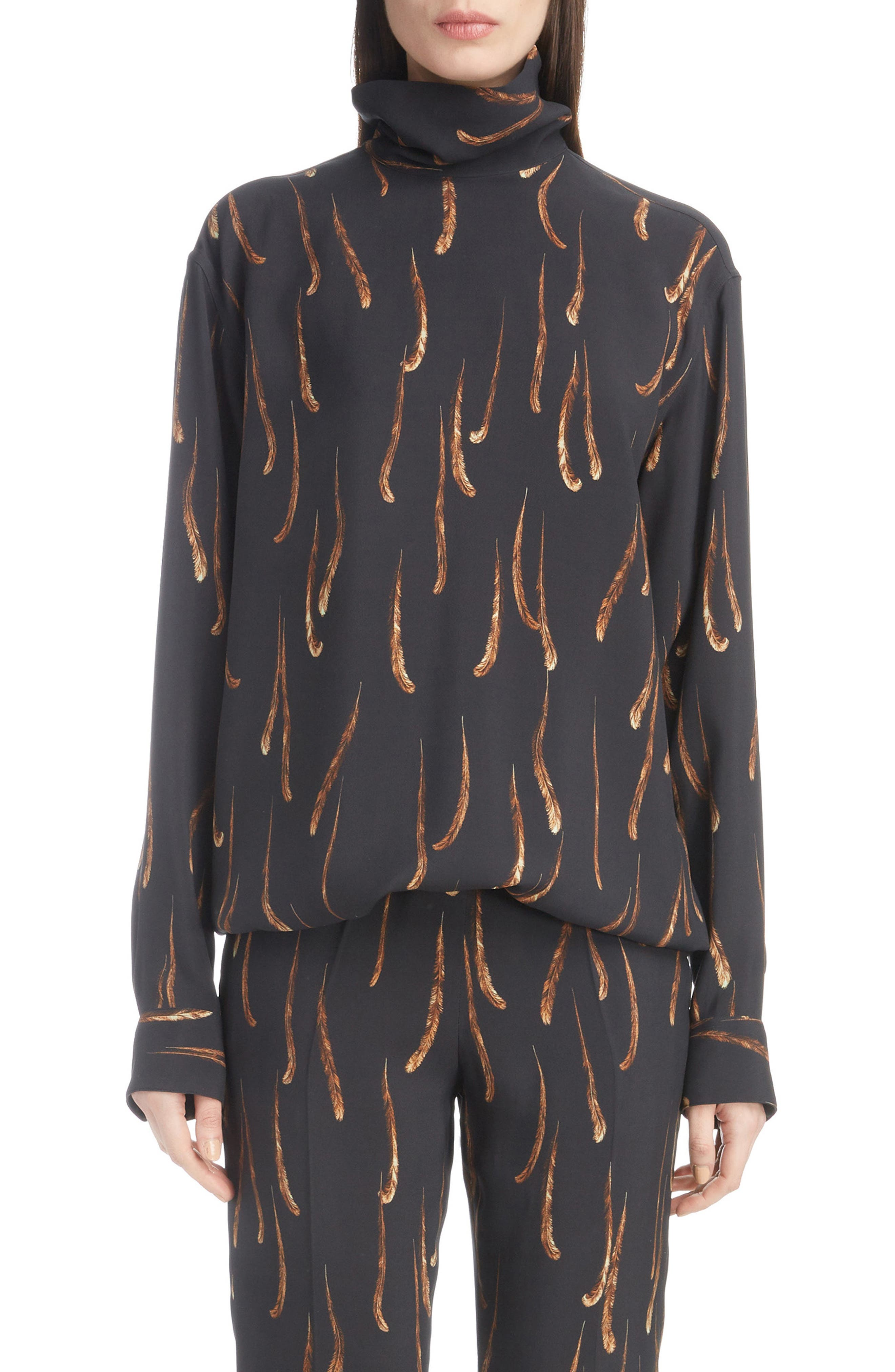 Feather Print Top,                             Main thumbnail 1, color,                             001