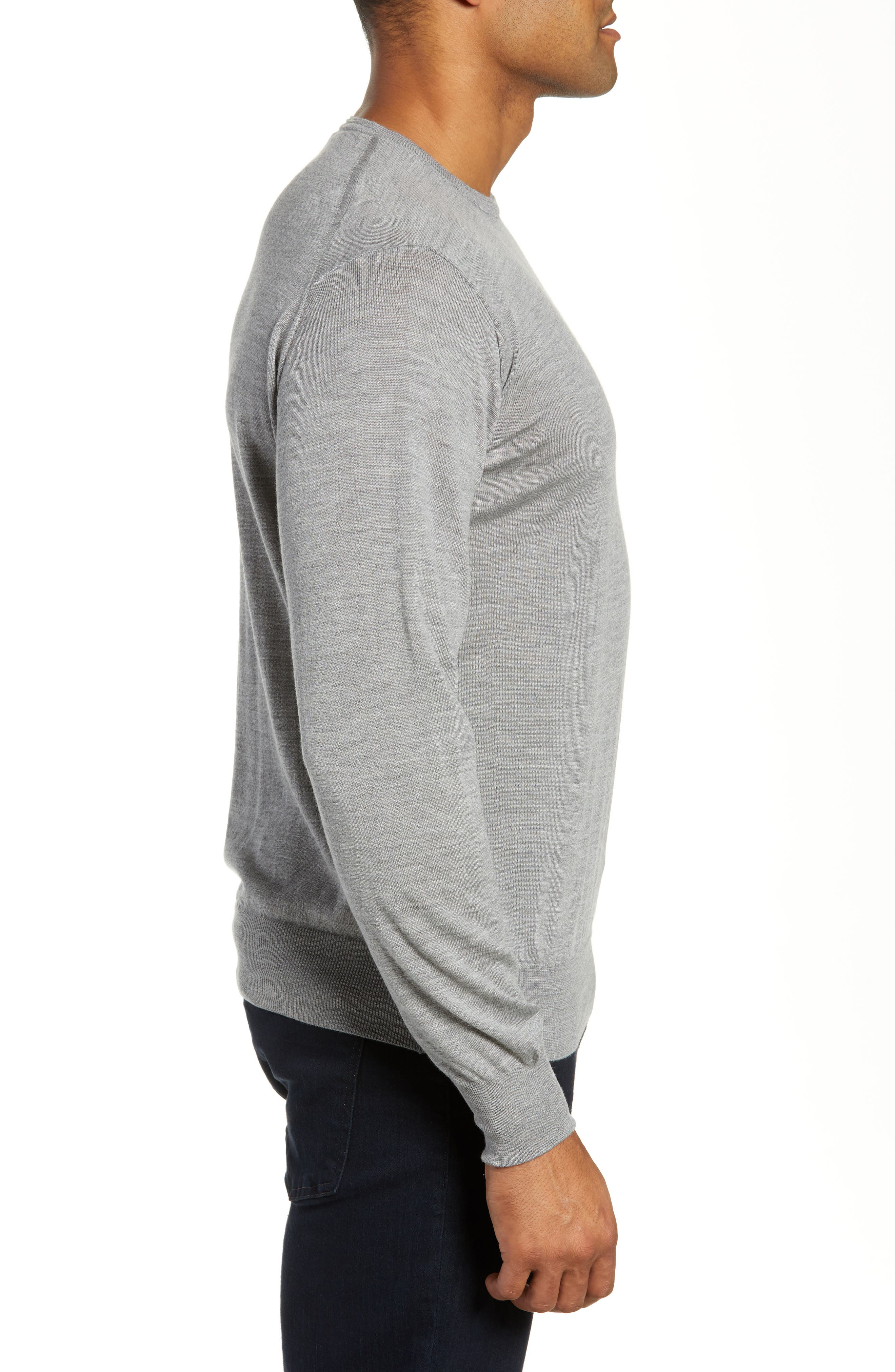 Merino Wool & Silk Crewneck Sweater,                             Alternate thumbnail 3, color,                             036