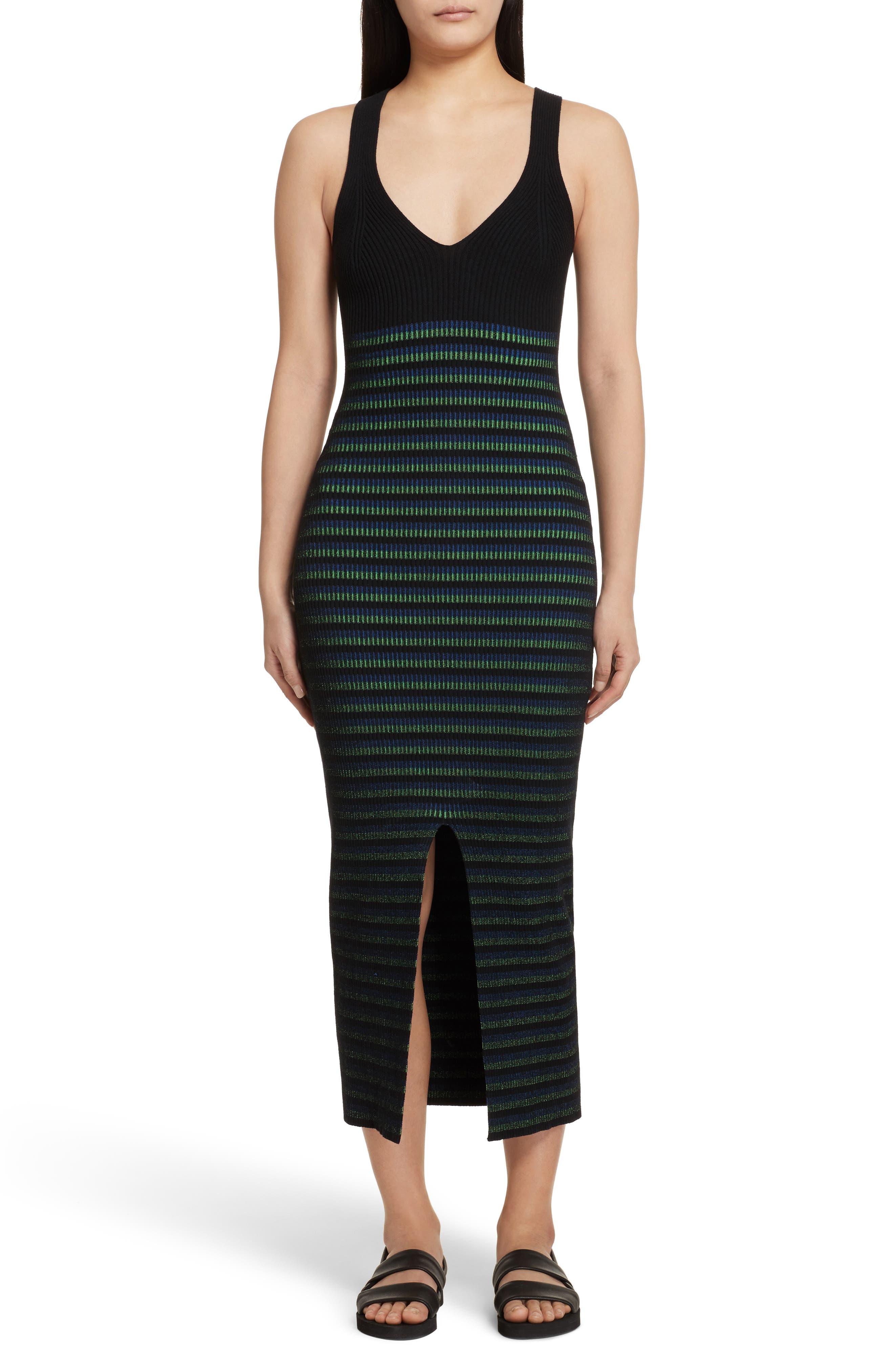 Ribbed Stripe Midi Dress,                             Main thumbnail 1, color,                             002