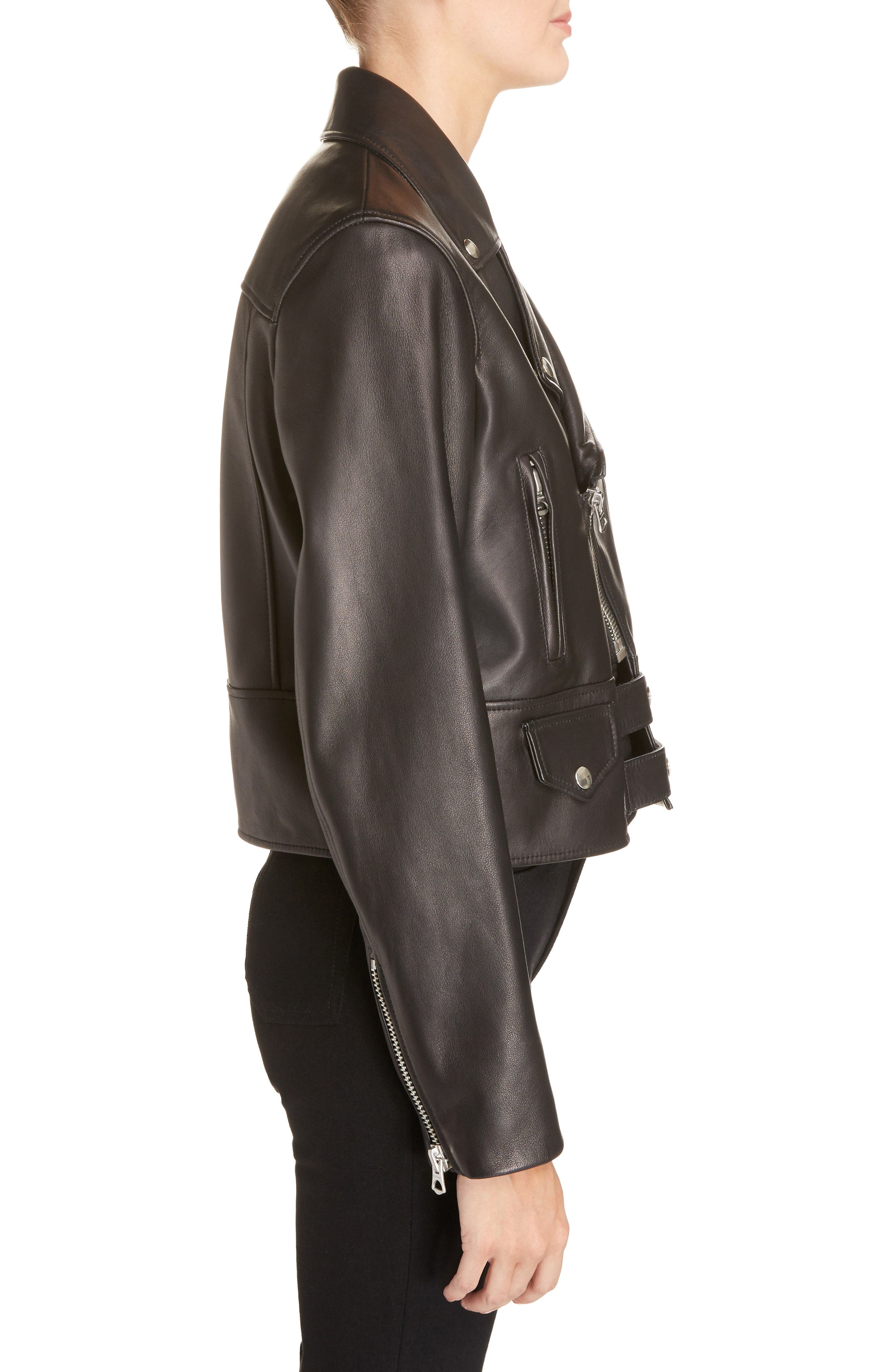 Suokki Leather Moto Jacket,                             Alternate thumbnail 3, color,                             001