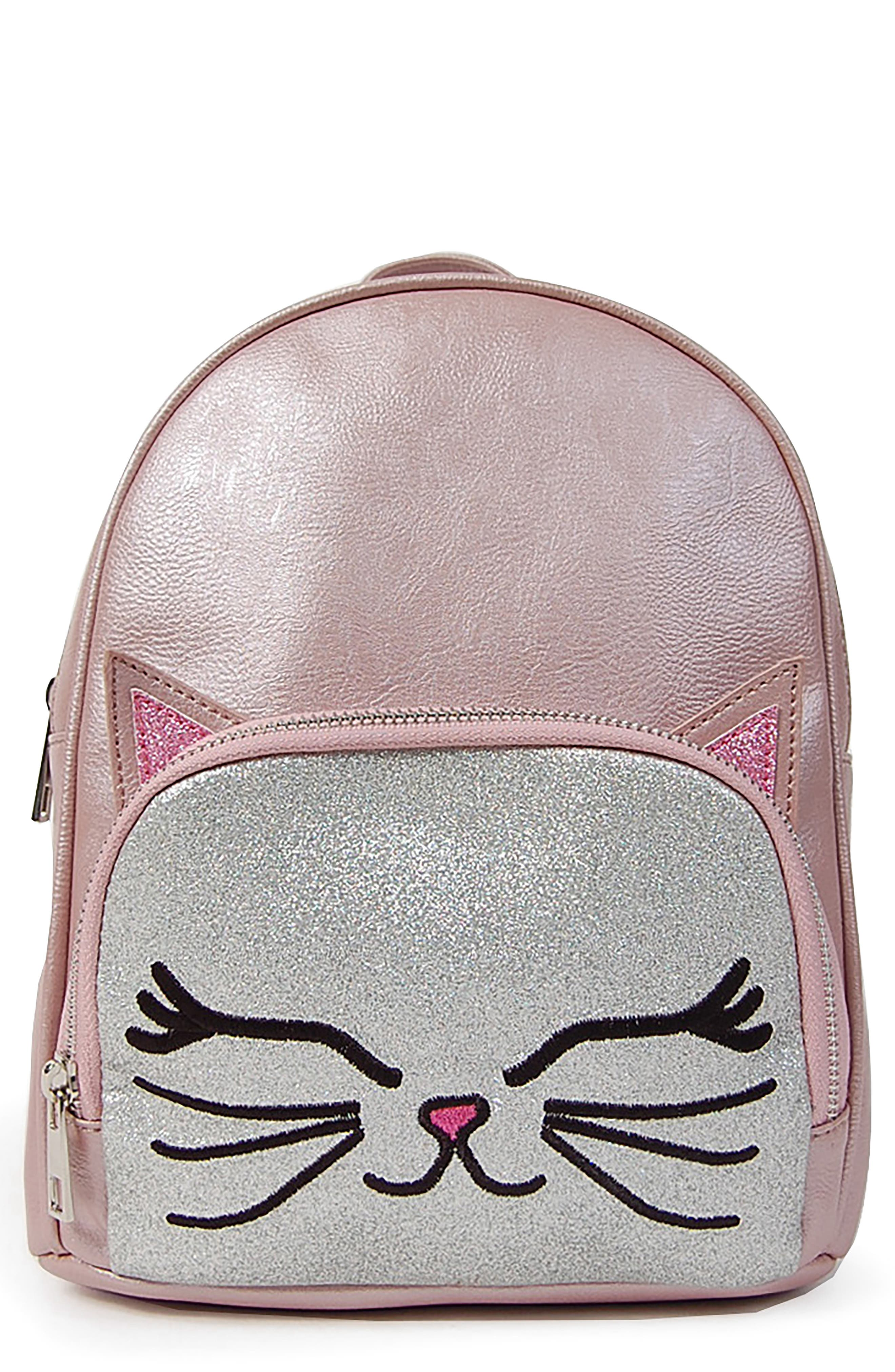 Pearlized Kitty Critter Mini Backpack, Main, color, PINK