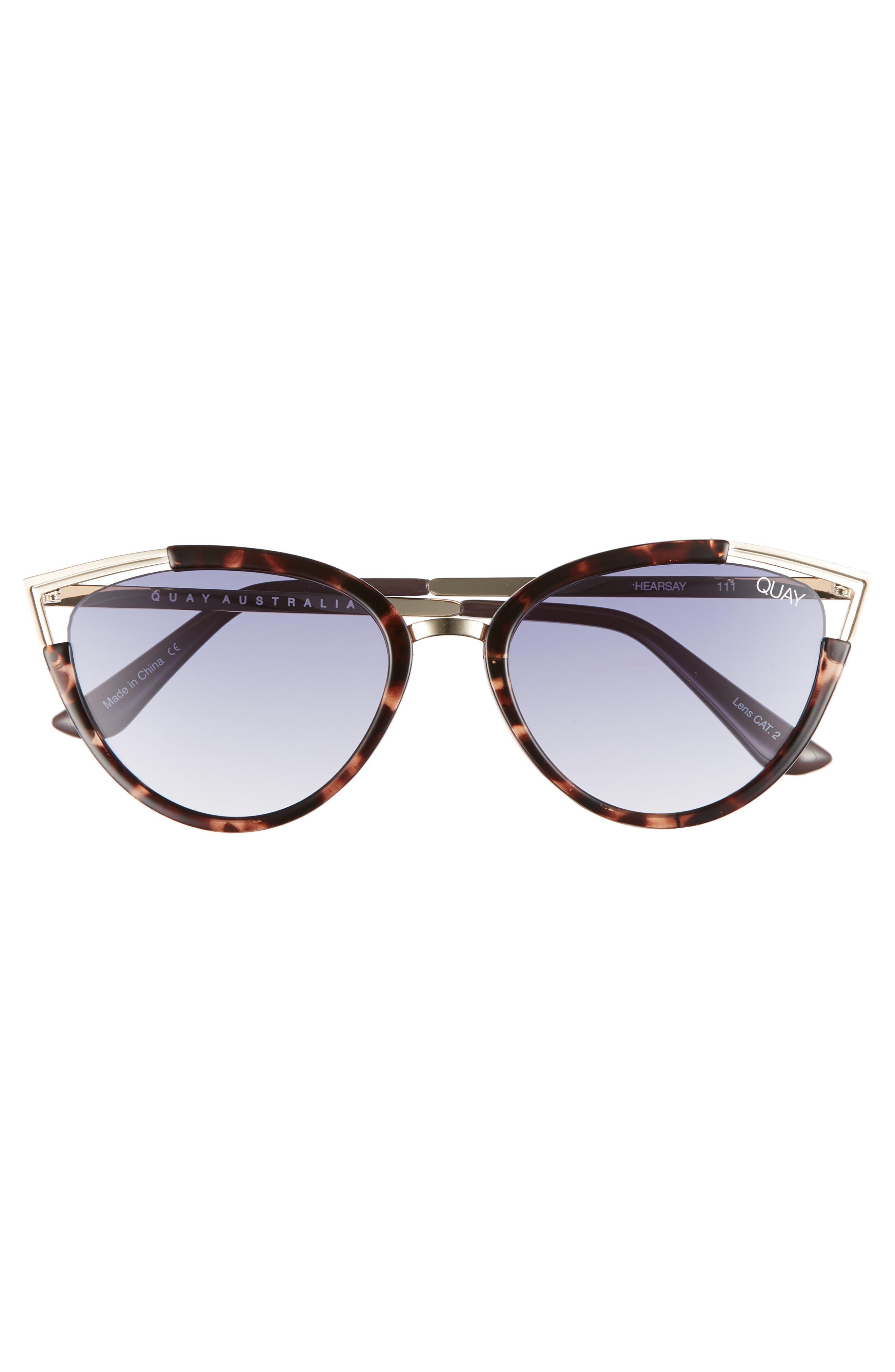Hearsay 65mm Cat Eye Sunglasses,                             Alternate thumbnail 3, color,                             TORT/ NAVY