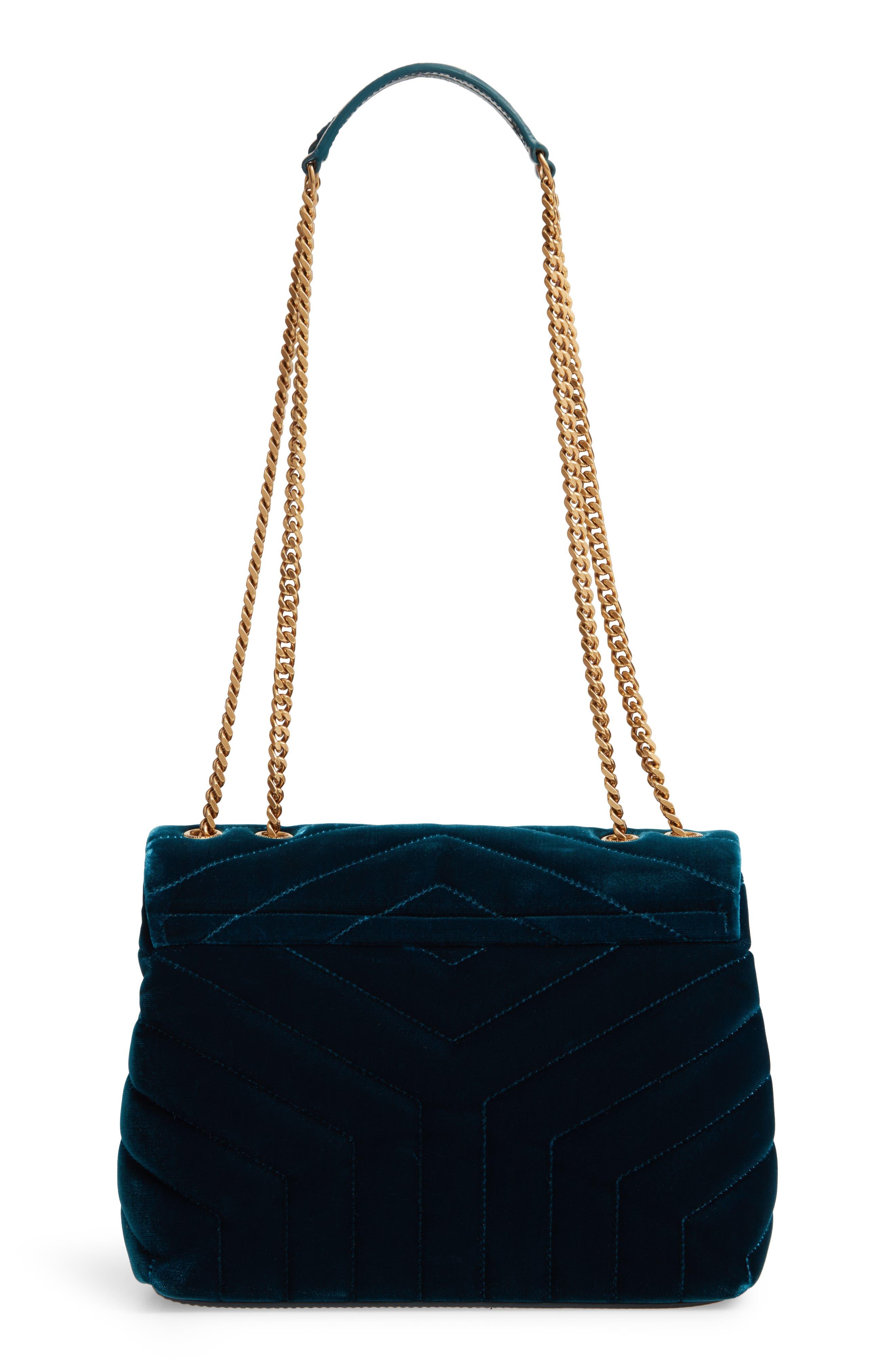 SAINT LAURENT,                             Small Loulou Matelassé Velour Shoulder Bag,                             Alternate thumbnail 3, color,                             DARK DEEP SEA/ DARK DEEP SEA