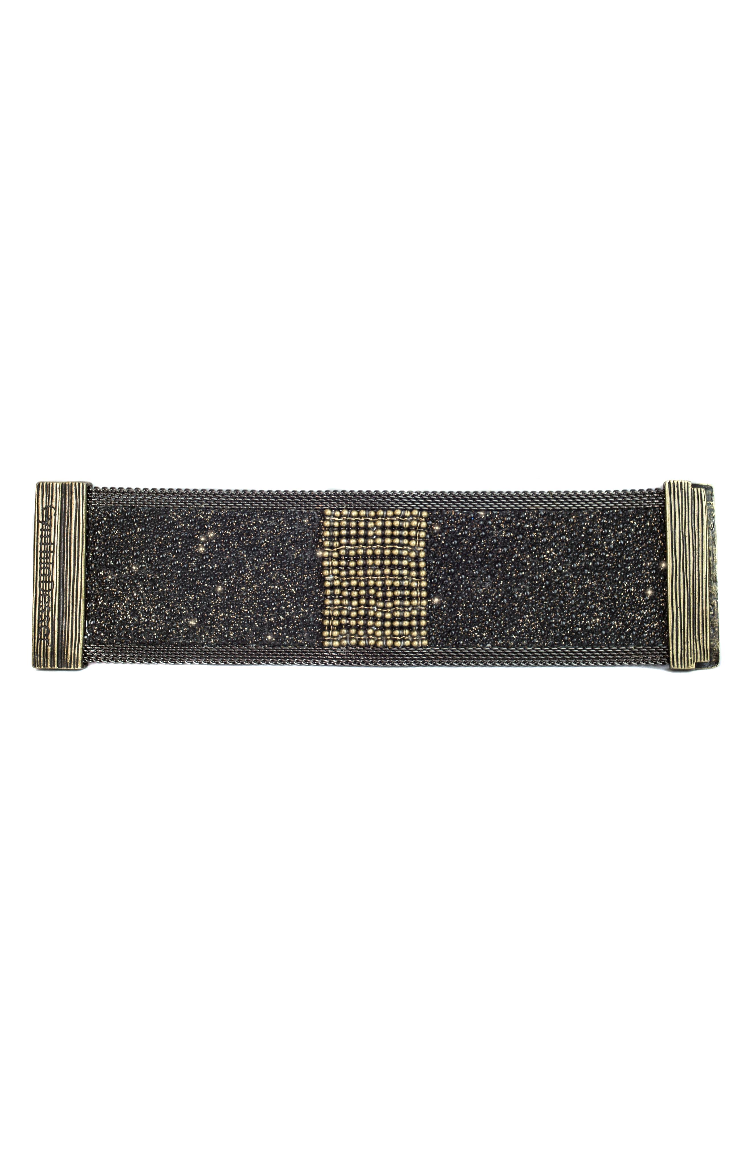 Wide Shimmer Stingray Bracelet,                             Alternate thumbnail 3, color,                             BLACK/ GOLD/ GUNMETAL