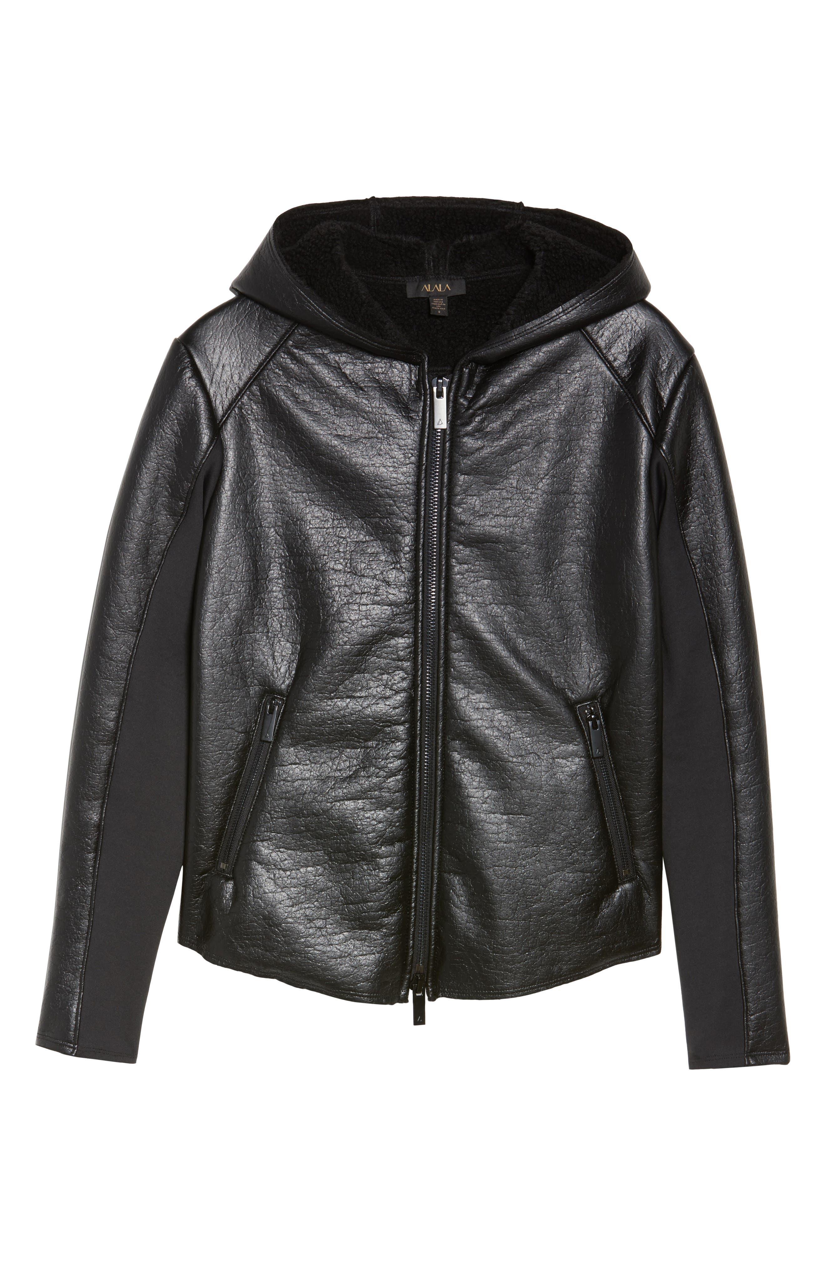 Fleece Lined Faux Leather Jacket,                             Alternate thumbnail 6, color,                             001