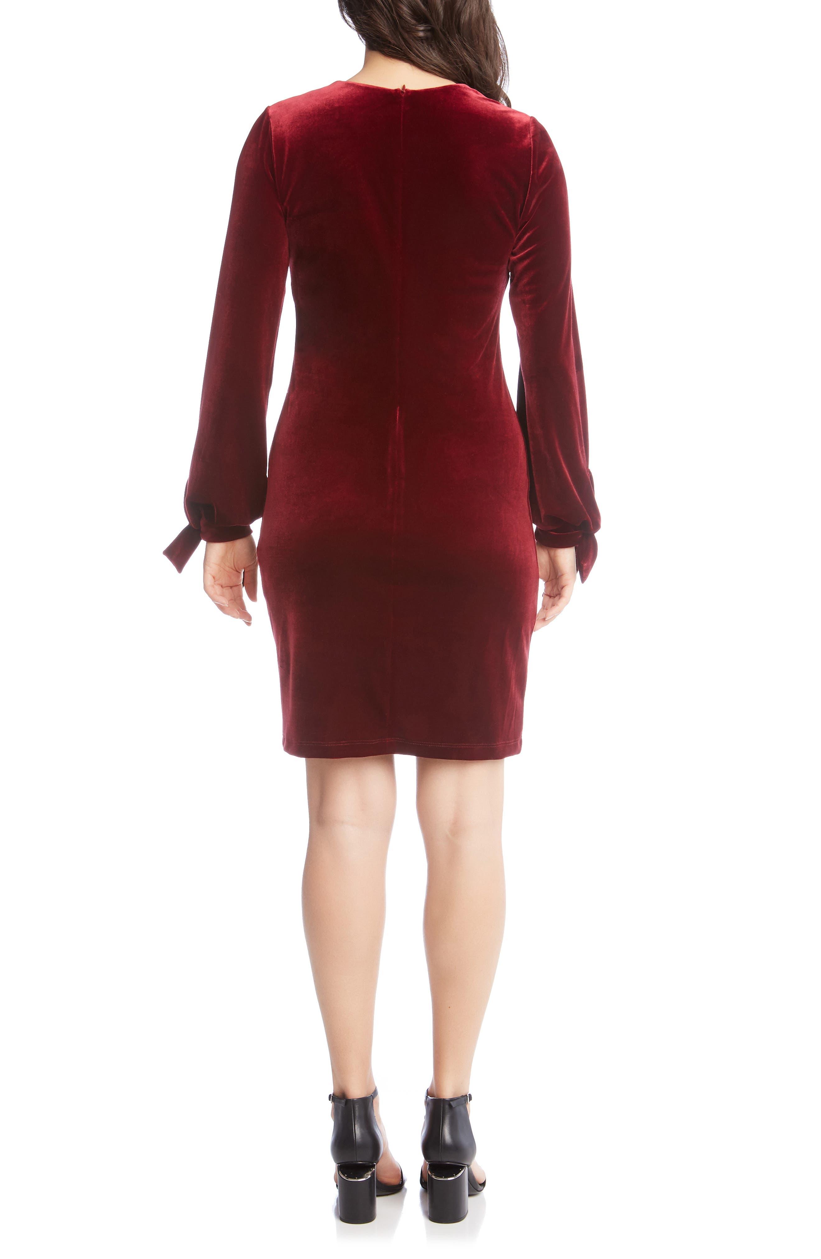 Velvet Tie Sleeve Dress,                             Alternate thumbnail 2, color,                             WINE