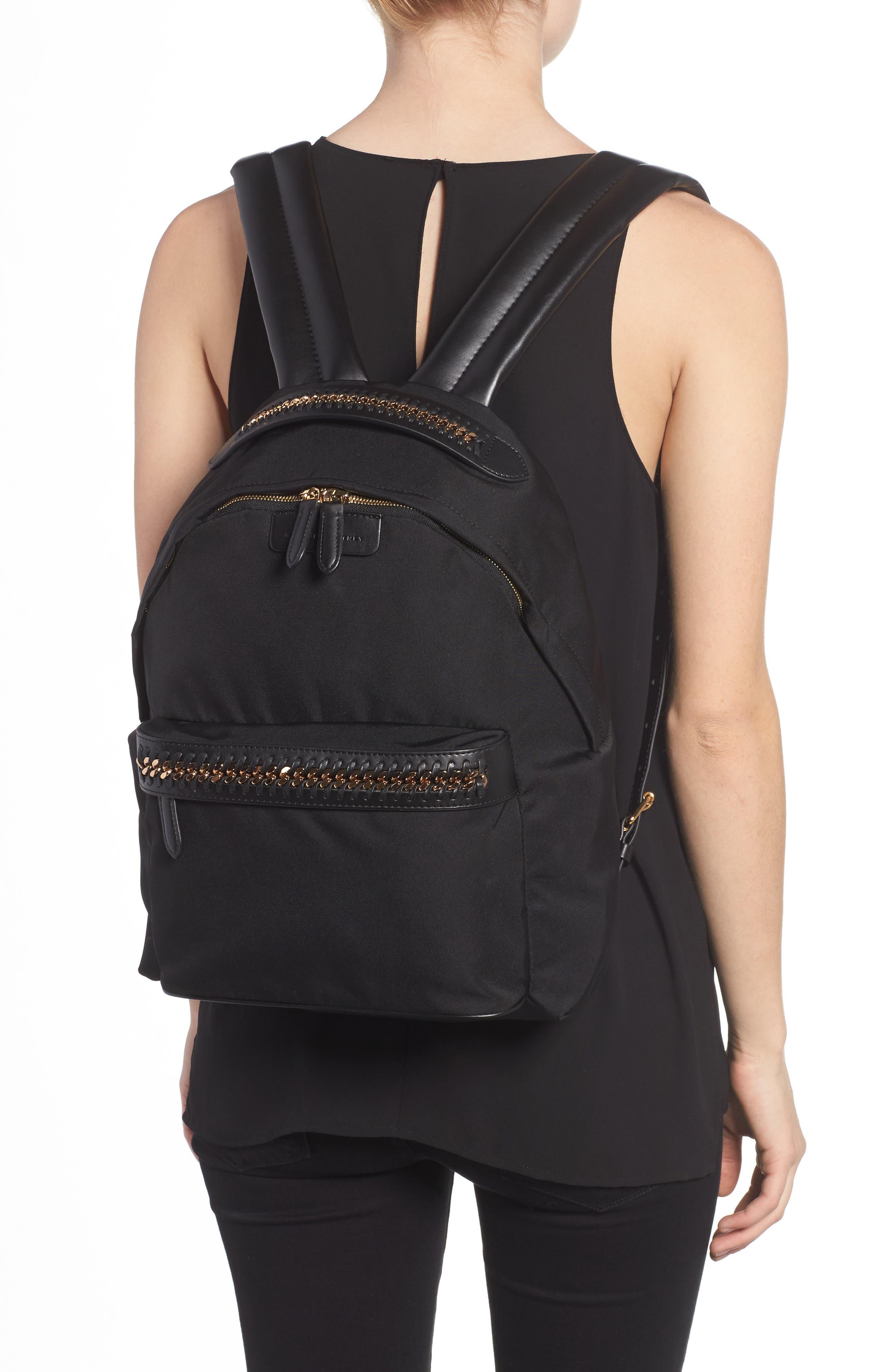 Falabella Nylon Backpack,                             Alternate thumbnail 2, color,                             BLACK