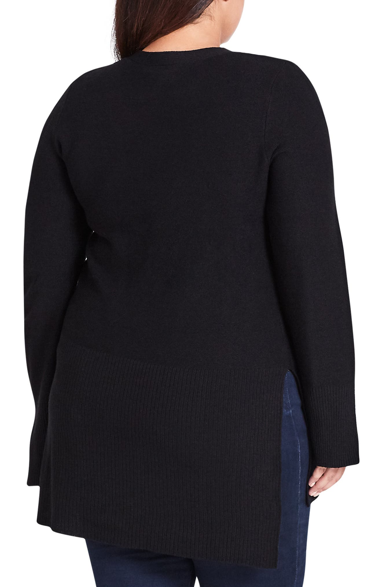 Crisscross Neck Sweater,                             Alternate thumbnail 2, color,                             BLACK