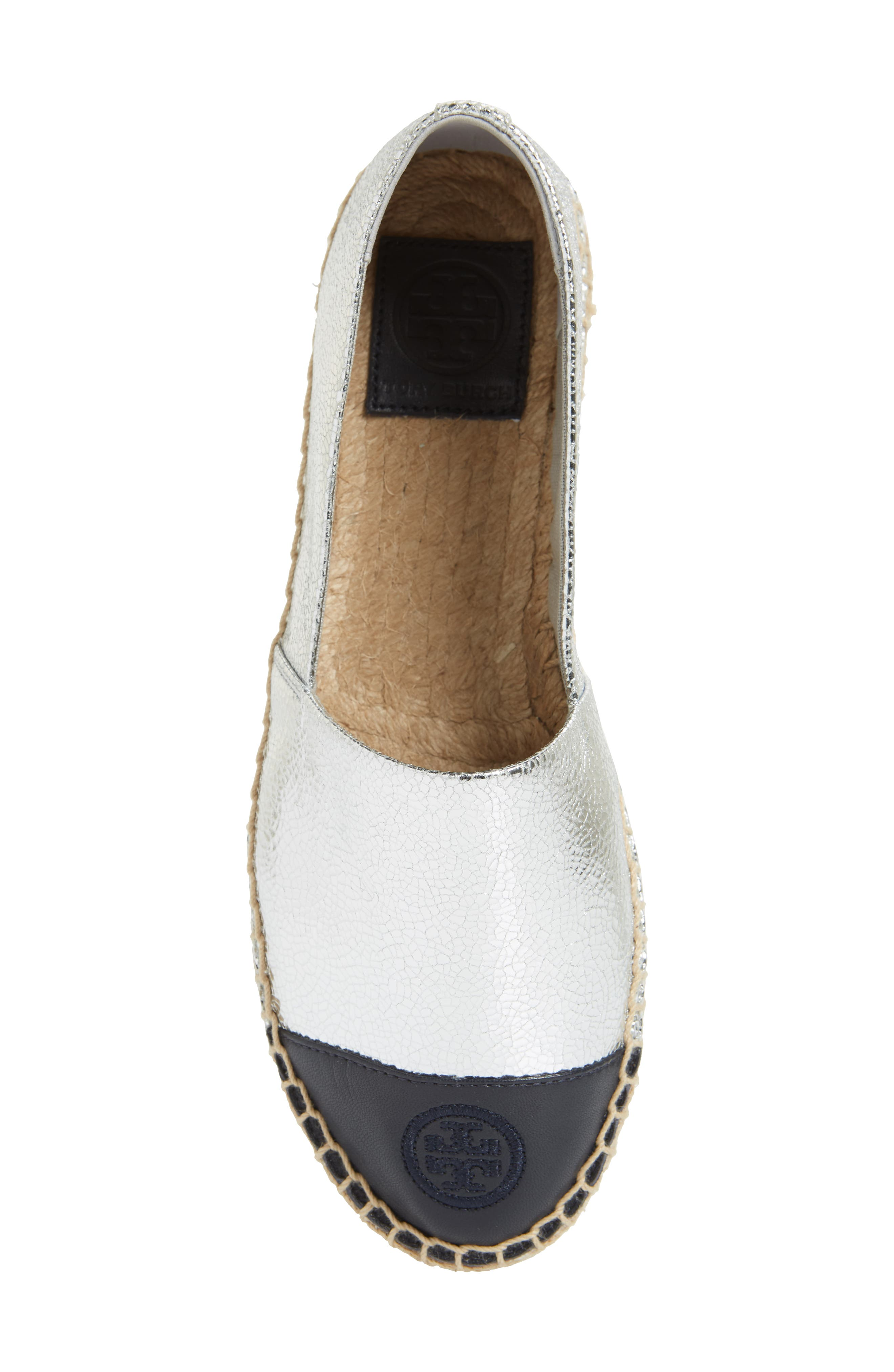 Colorblock Espadrille Flat,                             Alternate thumbnail 6, color,                             SILVER/ TORY NAVY