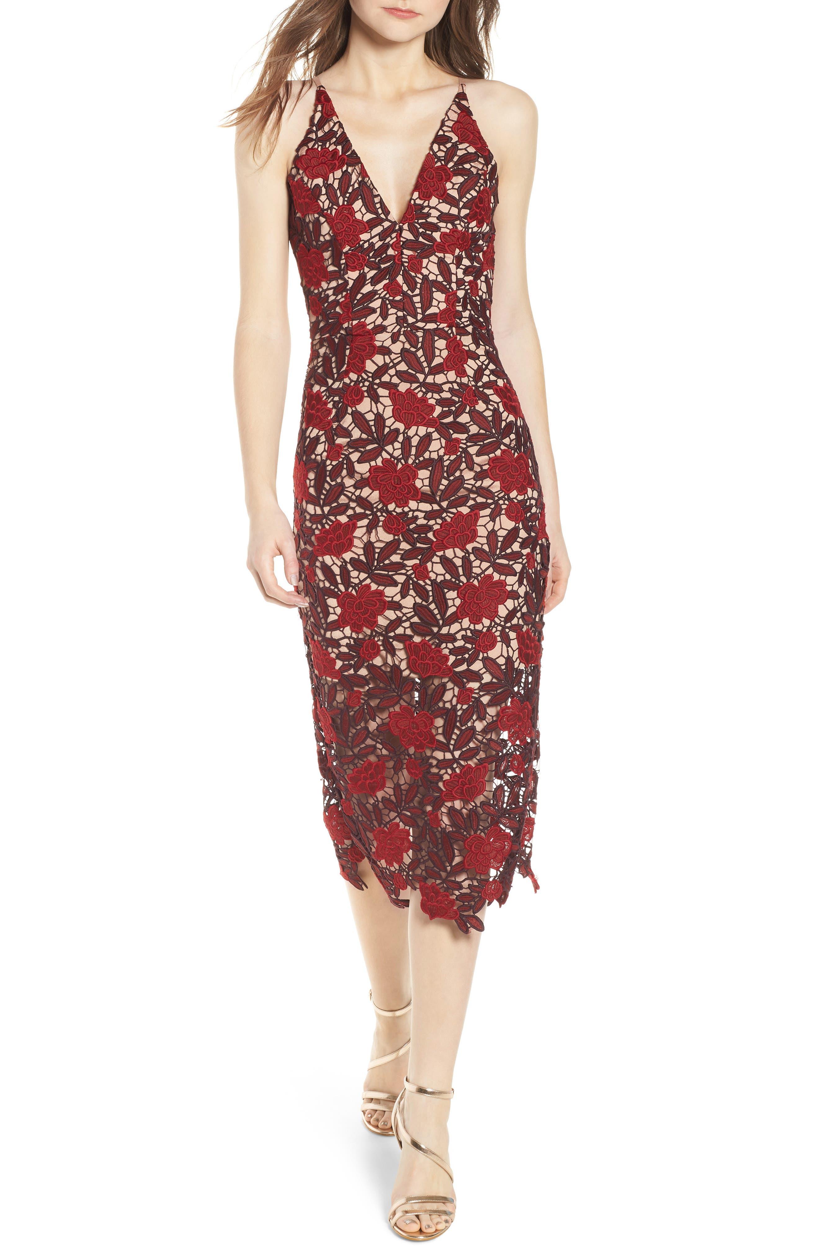 Aurora Embroidered Sheath Dress,                             Main thumbnail 1, color,                             GARNET/ NUDE