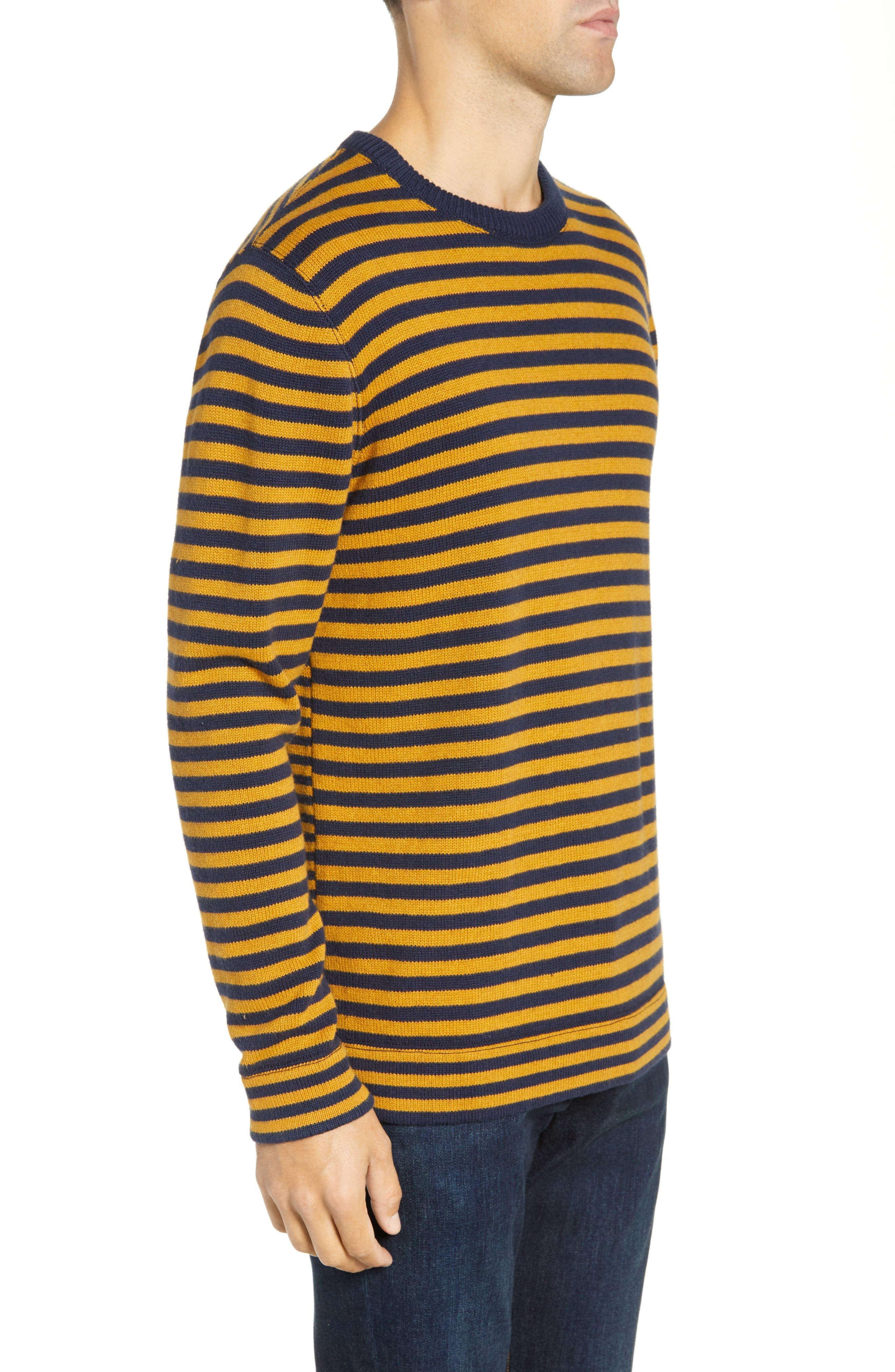 Stripe Cotton & Wool Sweater,                             Alternate thumbnail 3, color,                             CALLUNA YELLOW UTILITY BLUE