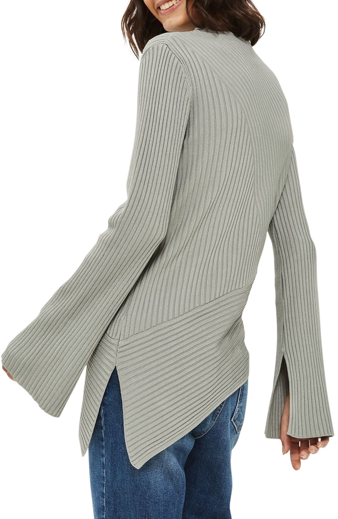 Asymmetrical Ribbed Sweater,                             Alternate thumbnail 8, color,
