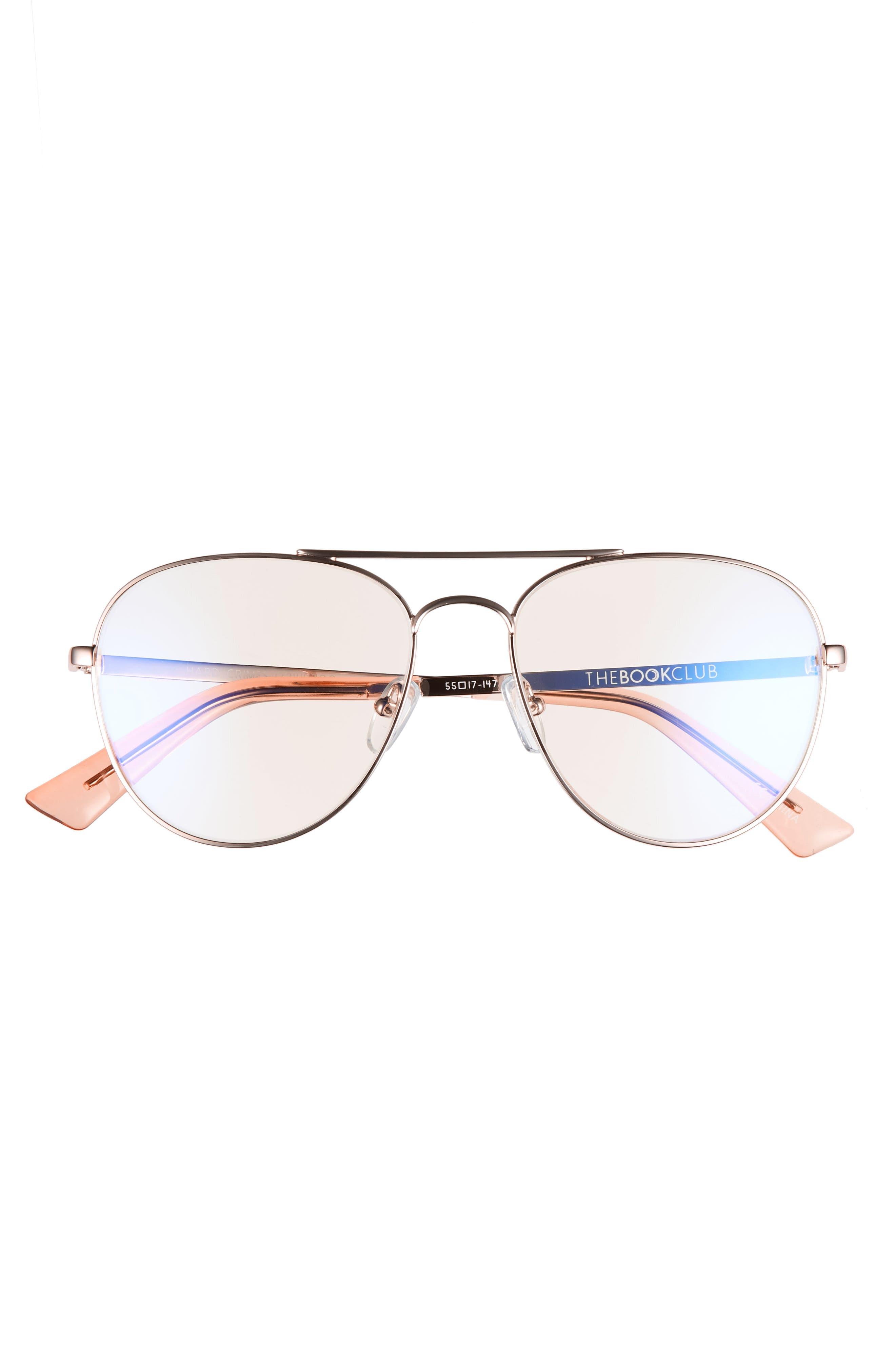 Hard Crimes 55mm Aviator Reading Glasses,                             Alternate thumbnail 3, color,                             ROSE GOLD