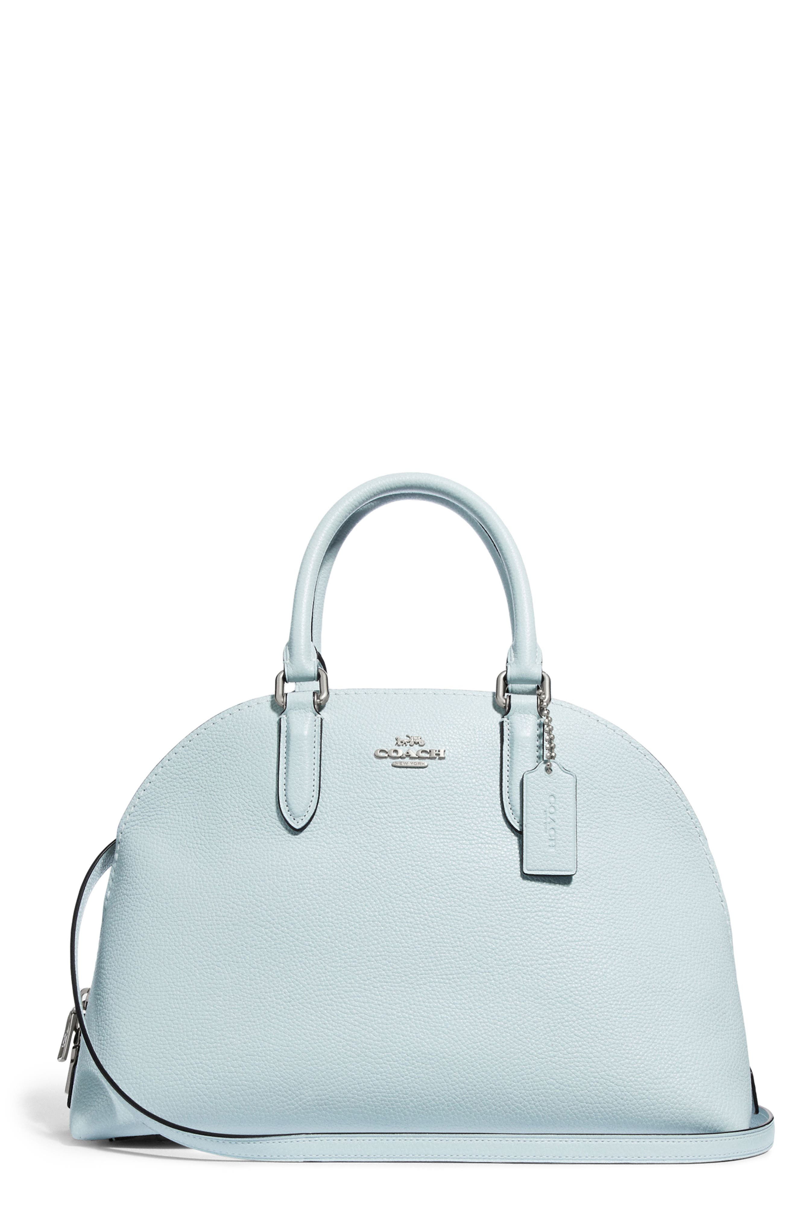 Quinn Leather Dome Satchel,                             Main thumbnail 1, color,                             SKY