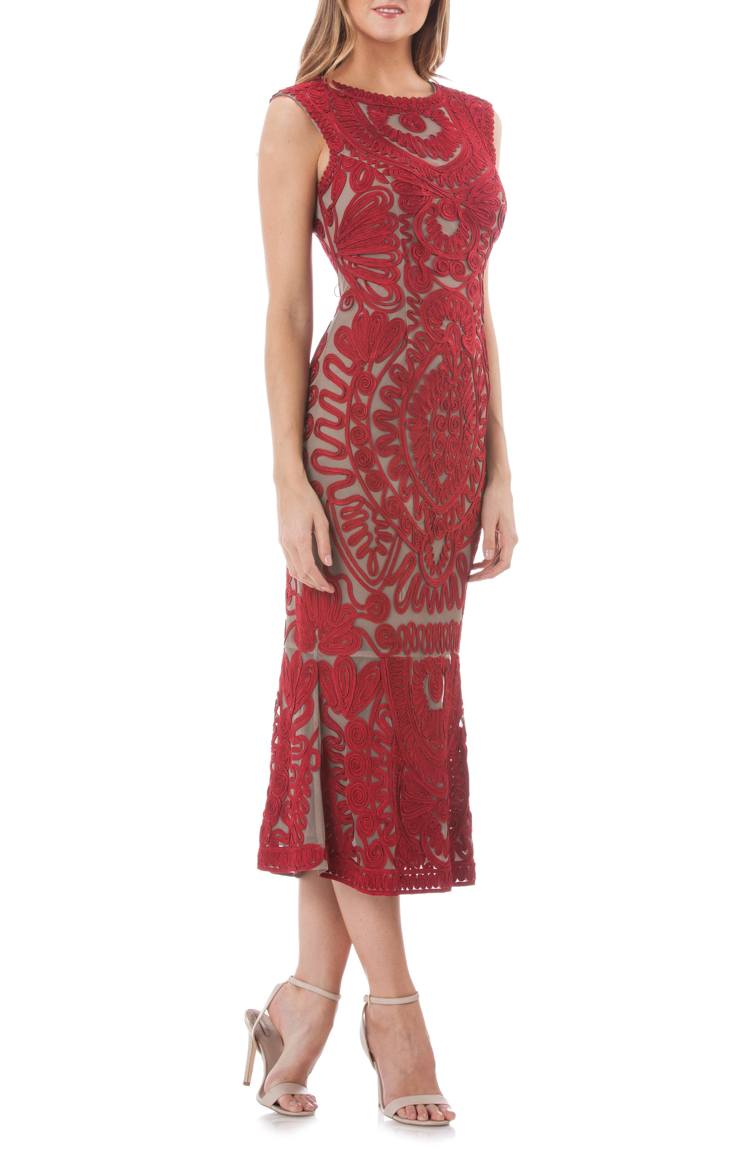 Soutache Mesh Dress,                             Main thumbnail 1, color,                             RED/ CLAY