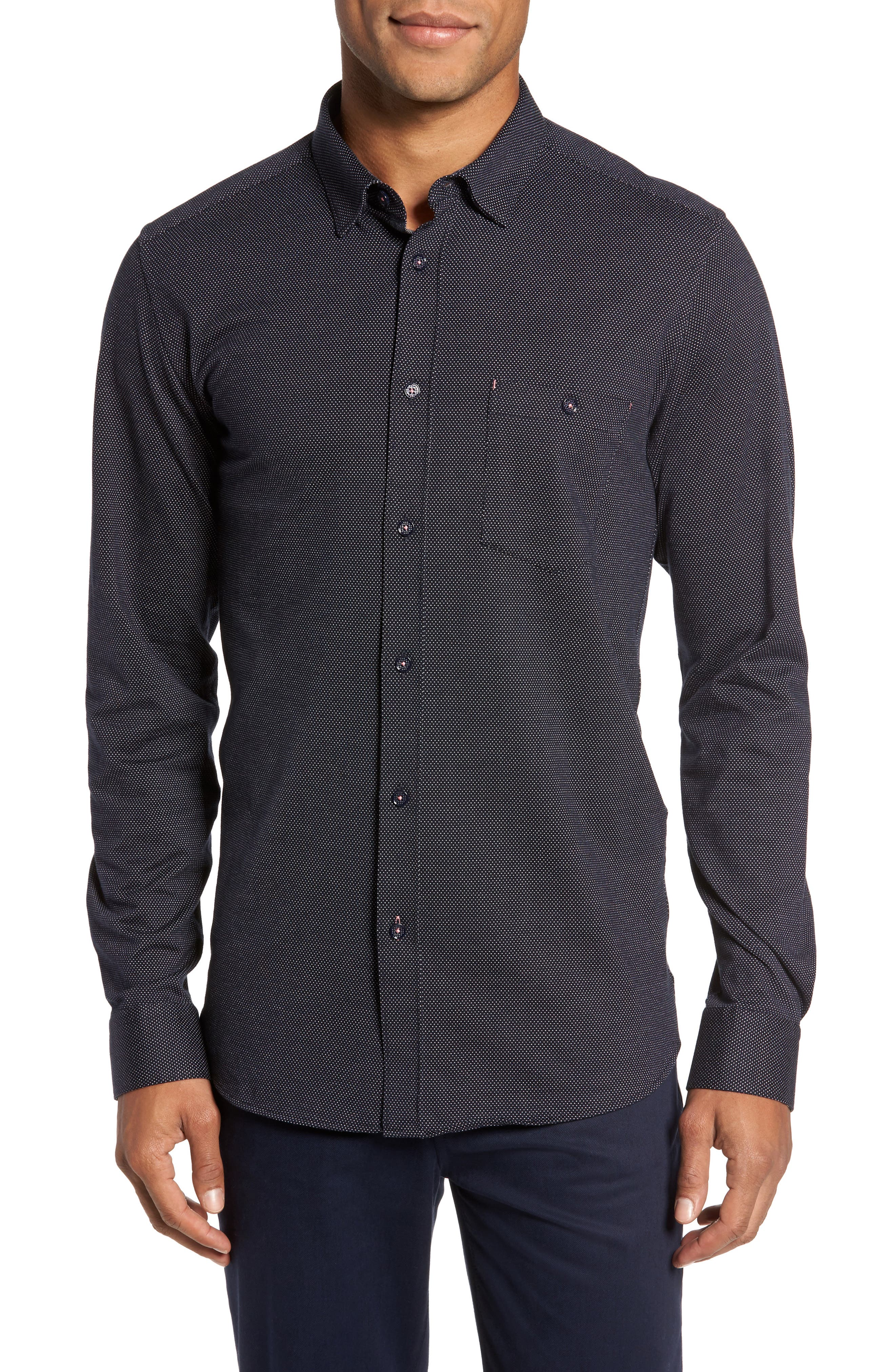 Slim Fit Microdot Sport Shirt,                         Main,                         color,