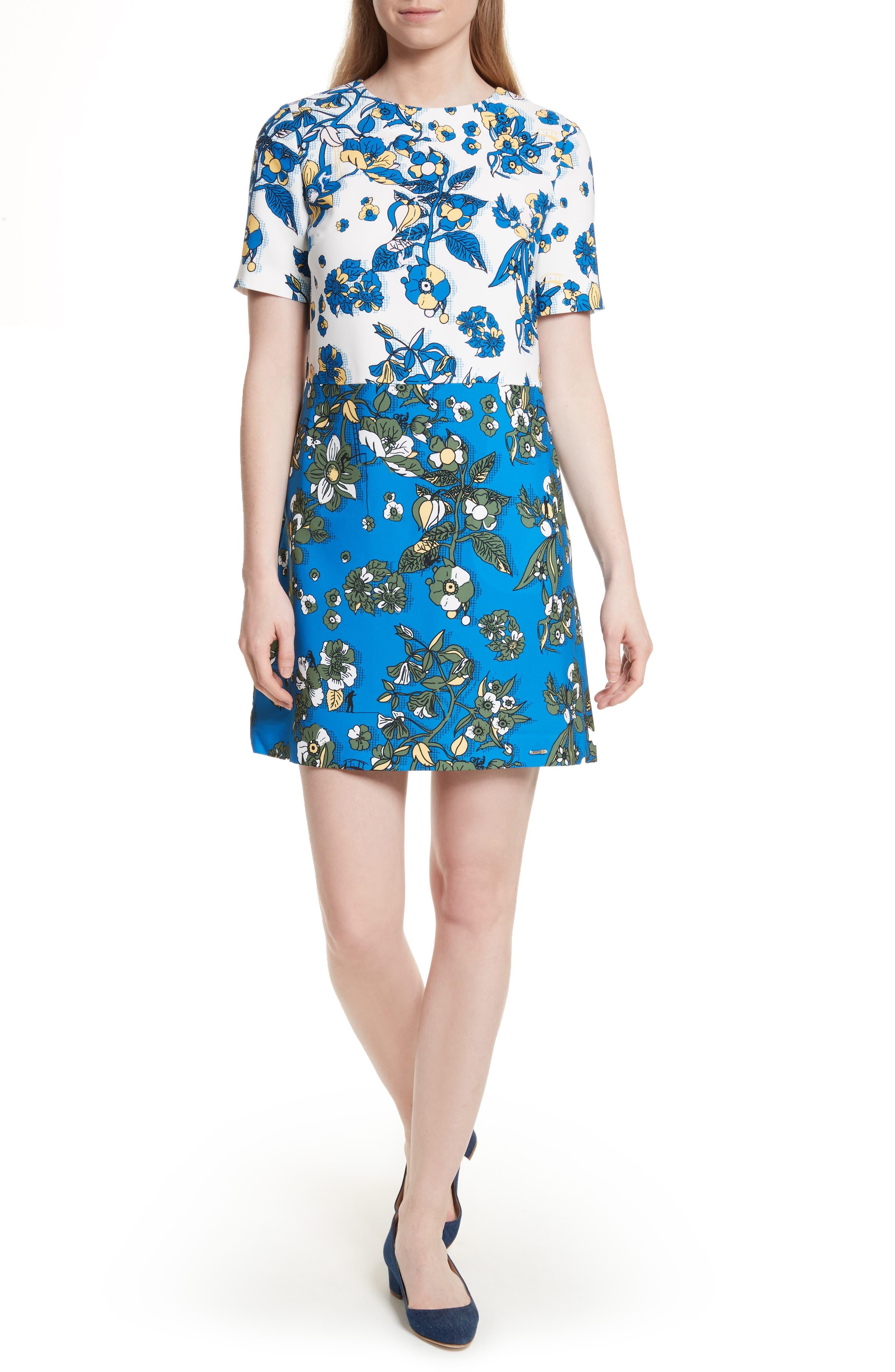 Colorblock Floral Shift Dress,                             Main thumbnail 1, color,                             402