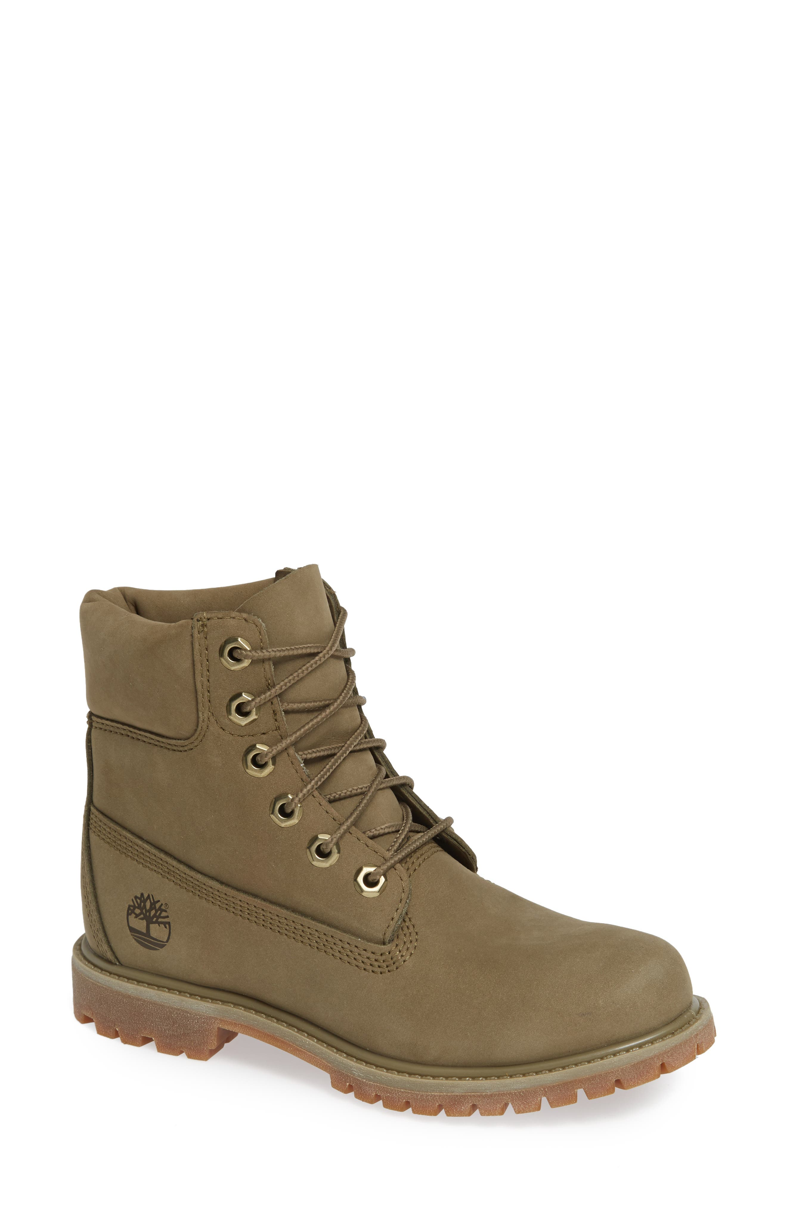 '6 Inch Premium' Waterproof Boot,                             Main thumbnail 1, color,                             COVERT GREEN LEATHER
