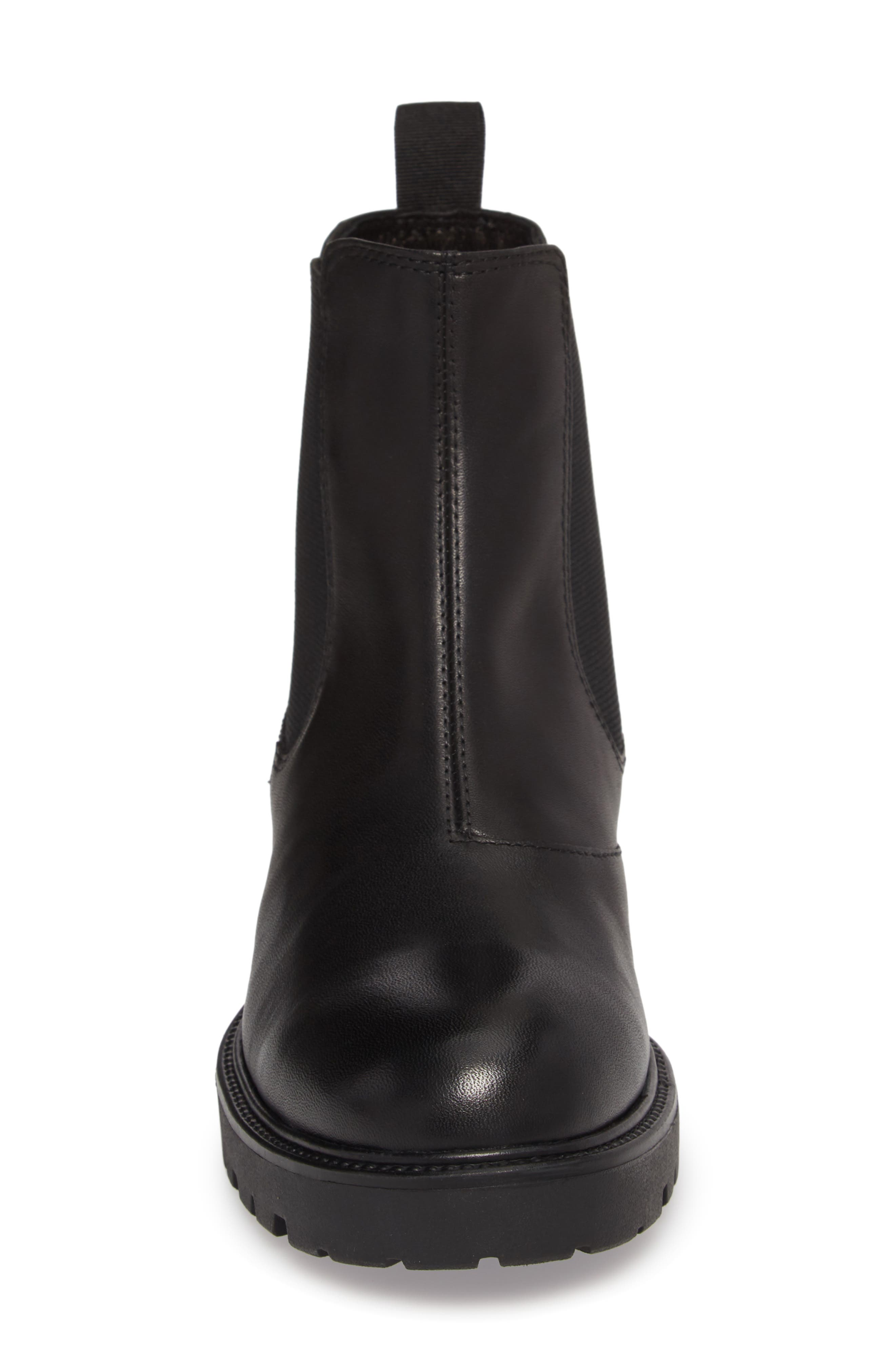 Kenova Lugged Chelsea Boot,                             Alternate thumbnail 4, color,                             BLACK LEATHER