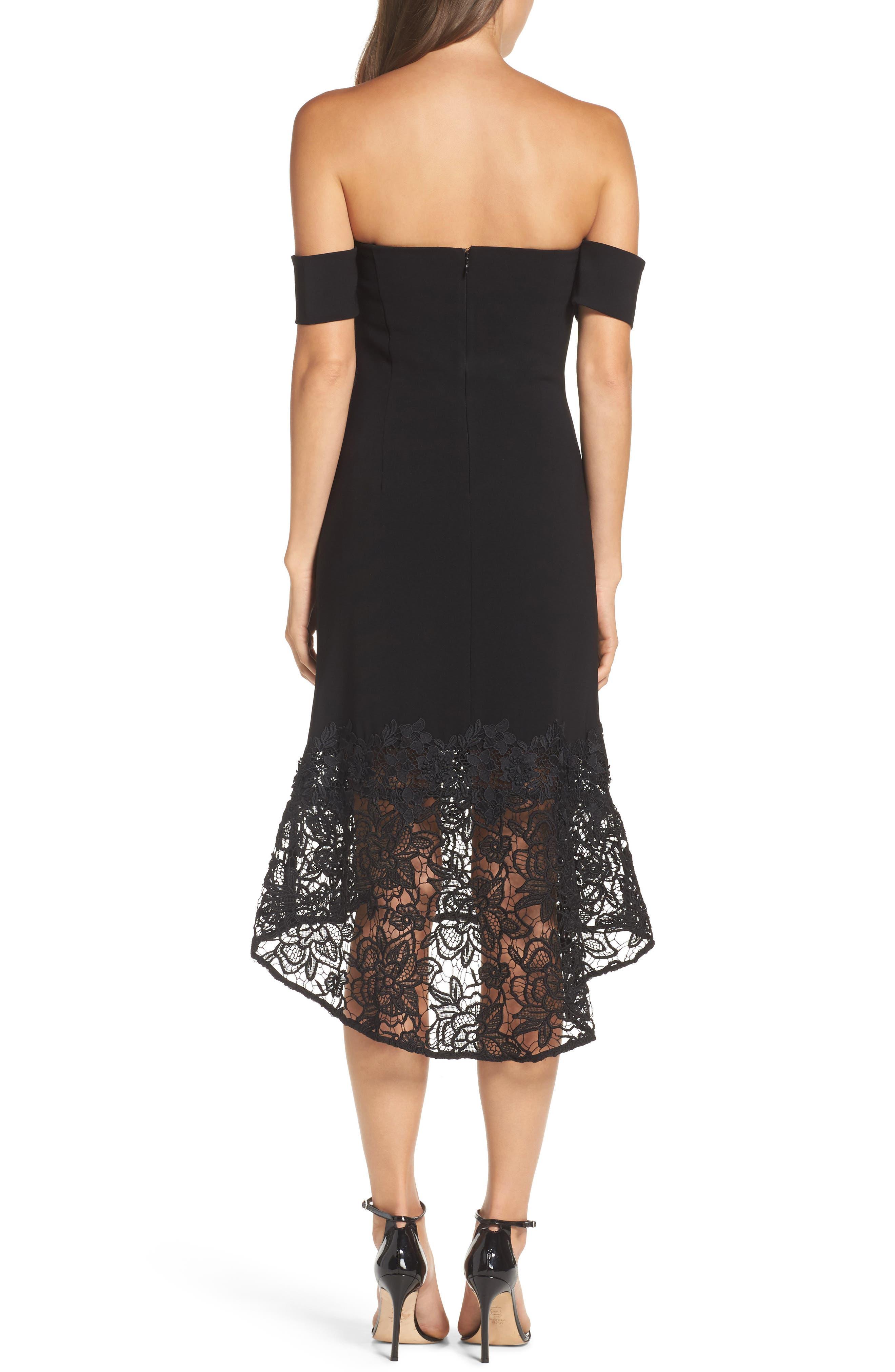 Noir Indure Lace Hem Off the Shoulder Dress,                             Alternate thumbnail 2, color,                             001