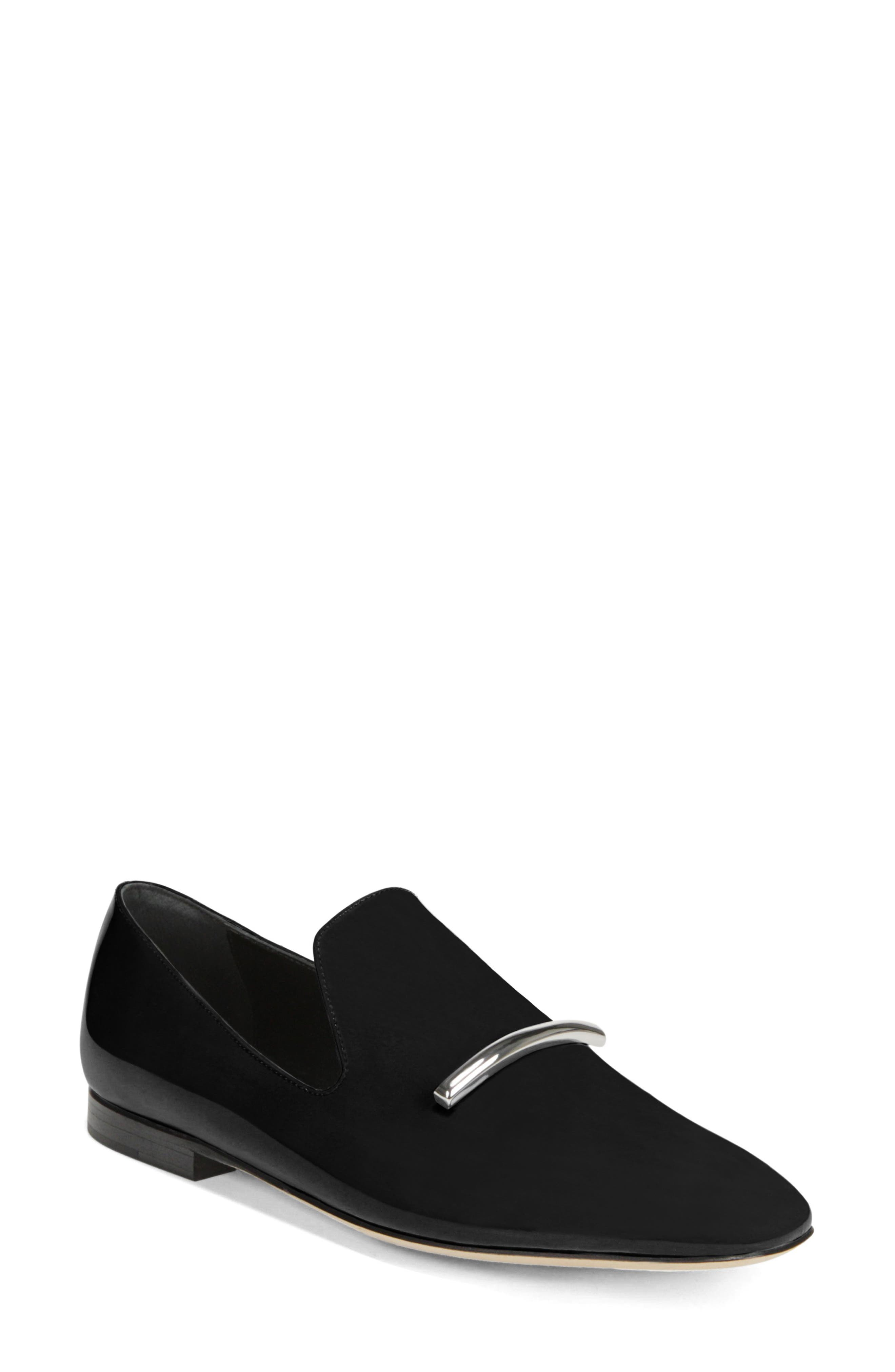 Tallis Patent Leather Flat Loafers in Black