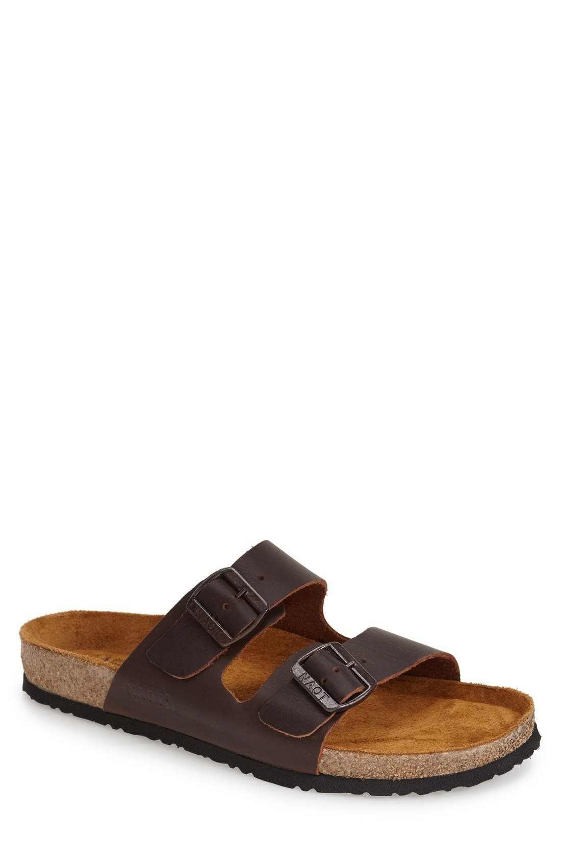 Santa Barbara Slide Sandal,                         Main,                         color, BUFFALO LEATHER